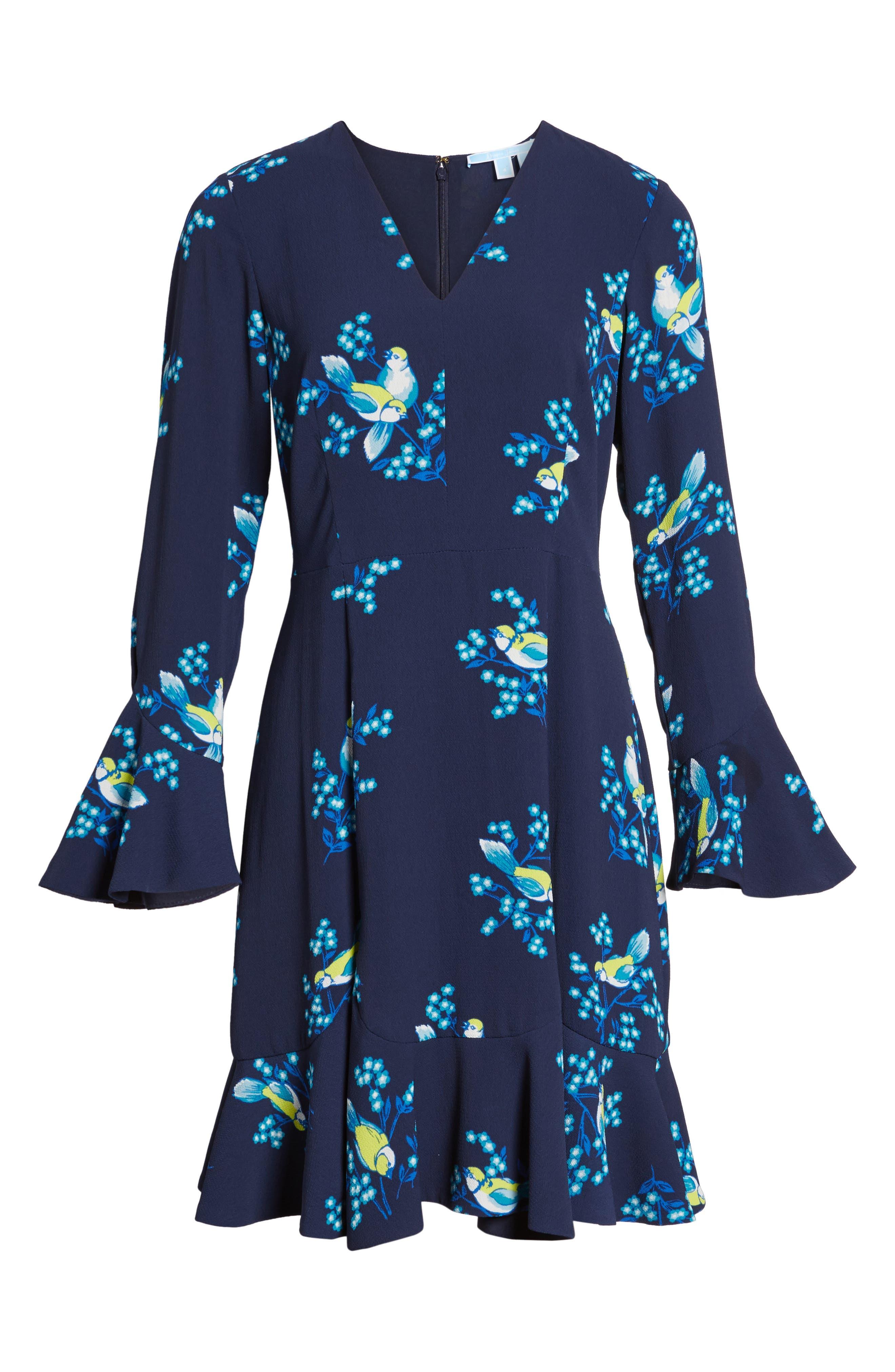 Magnolia Mockingbird Bell Sleeve A-line Dress,                             Alternate thumbnail 6, color,                             432