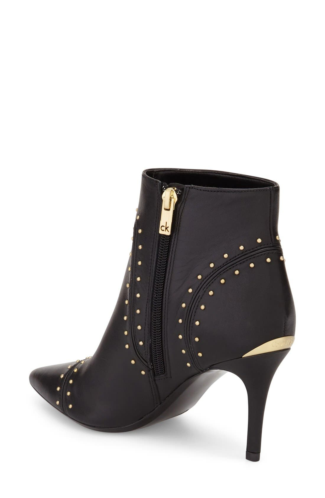 Grazie Studded Pointy Toe Bootie,                             Alternate thumbnail 2, color,                             001