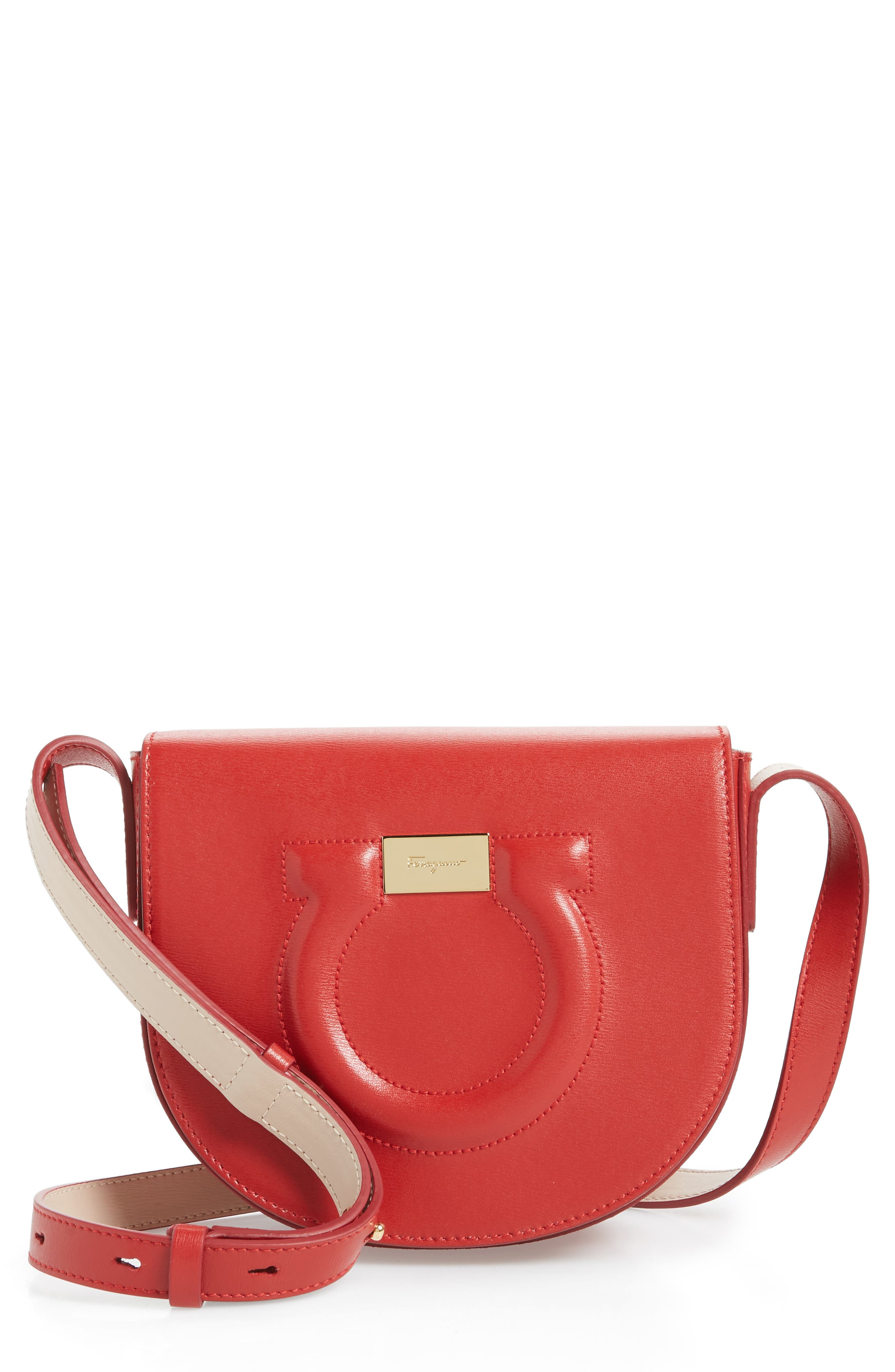 Quilted Gancio Crossbody Bag, Main, color, LIPSTICK RED