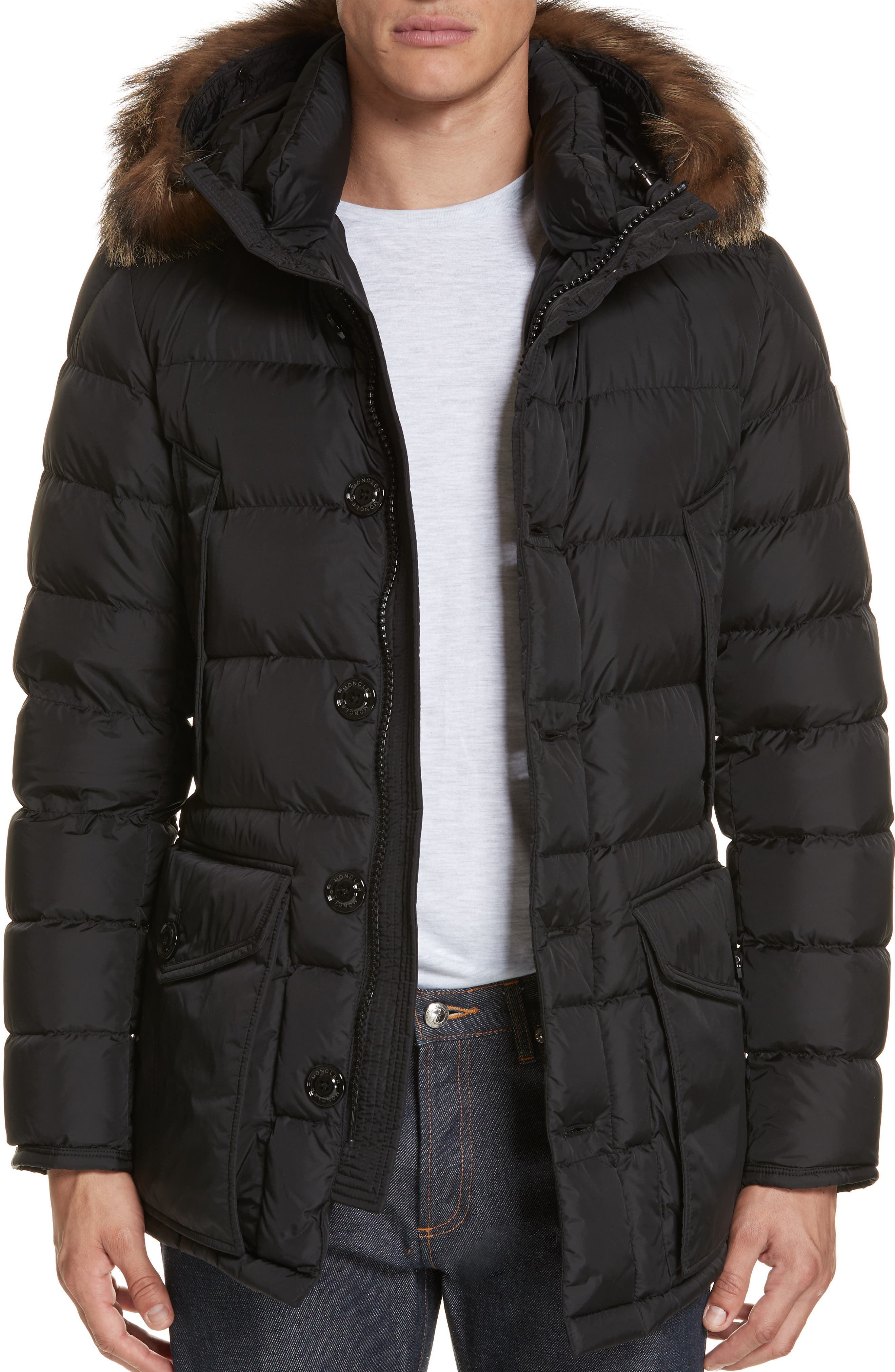Cluny Giubbotto Down Parka with Genuine Coyote Fur Trim,                             Alternate thumbnail 4, color,                             001