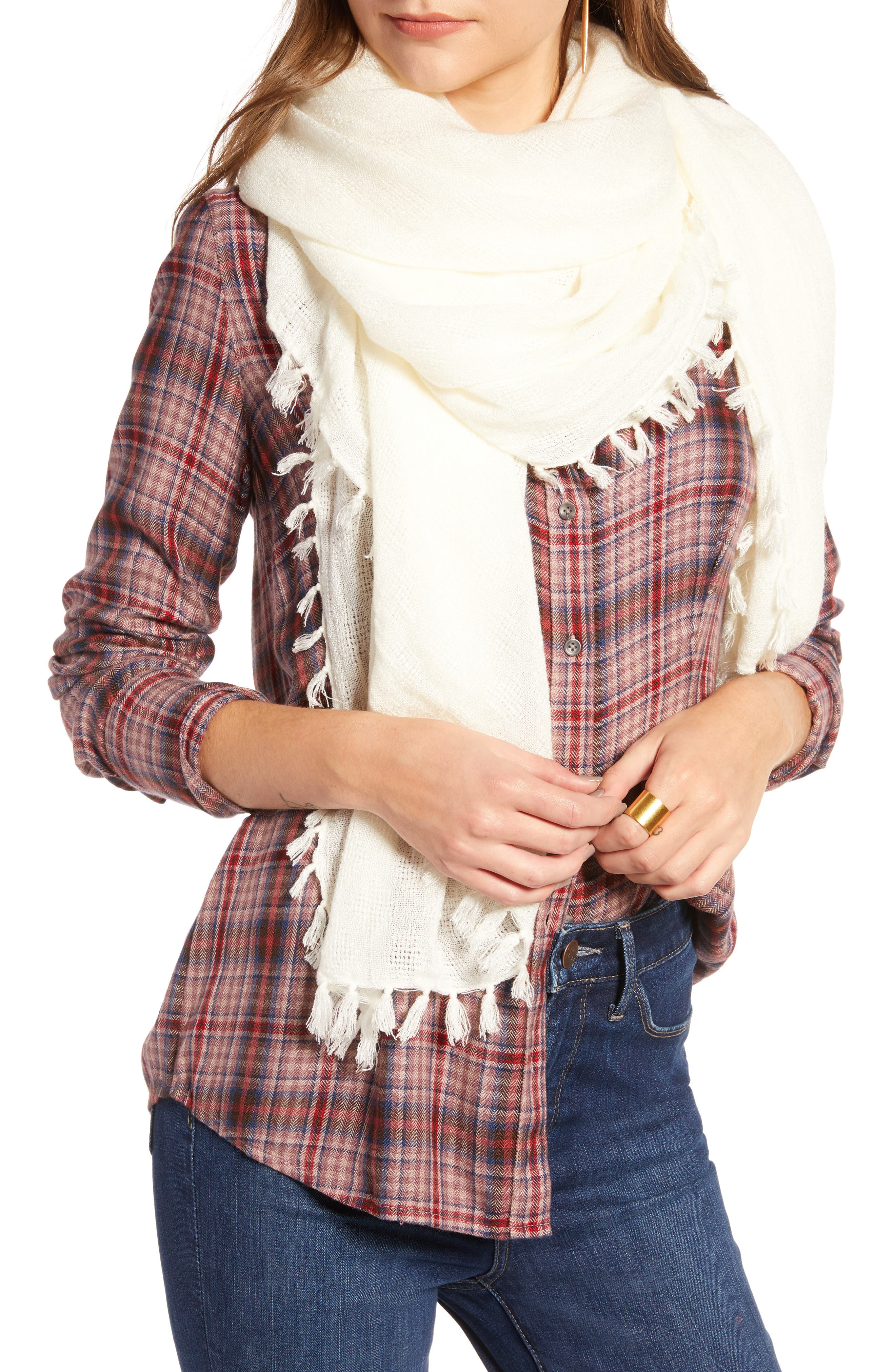 Solid Fringed Scarf,                         Main,                         color, IVORY