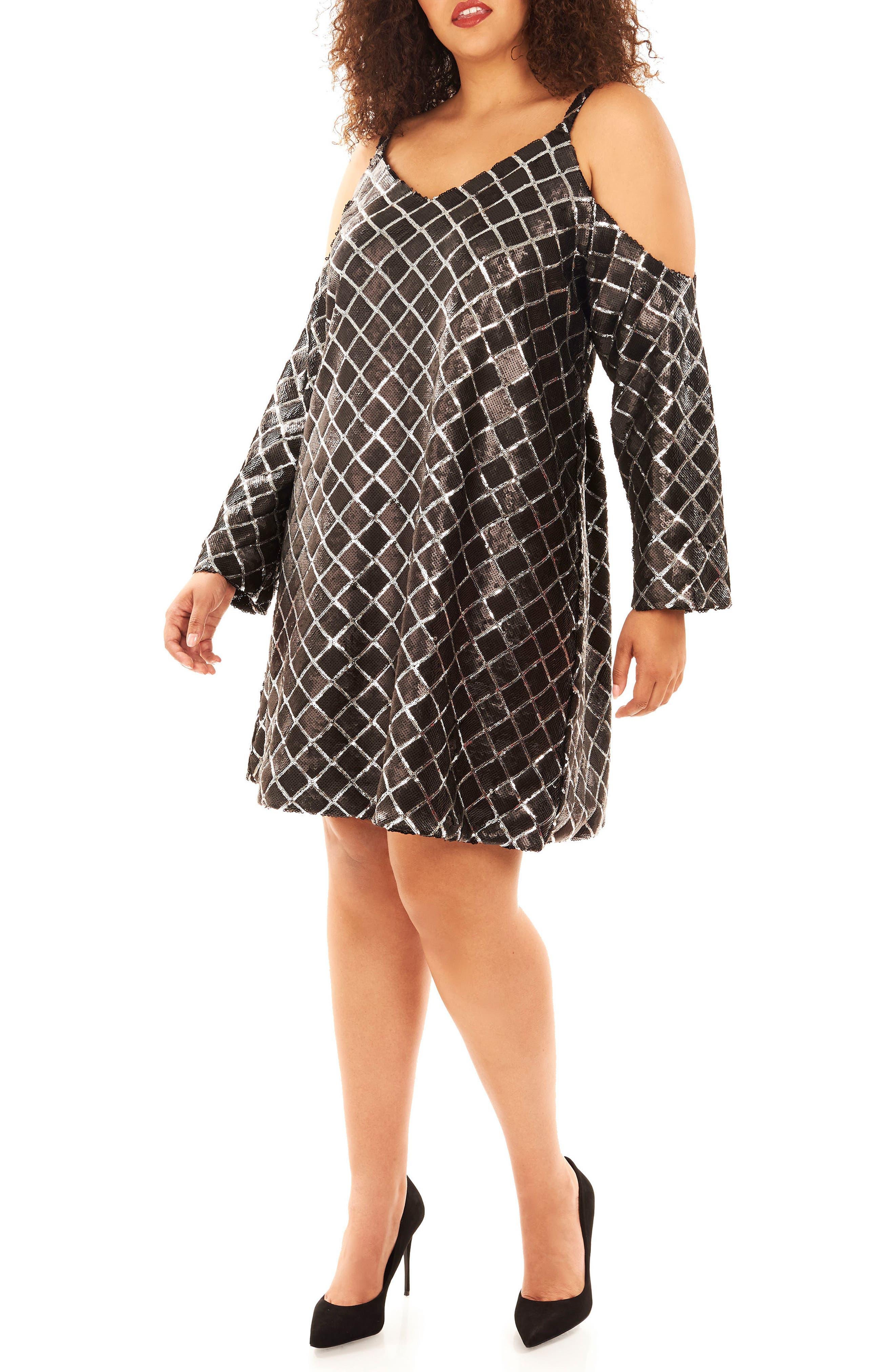 Cold Shoulder Sequin Dress,                             Alternate thumbnail 4, color,                             019