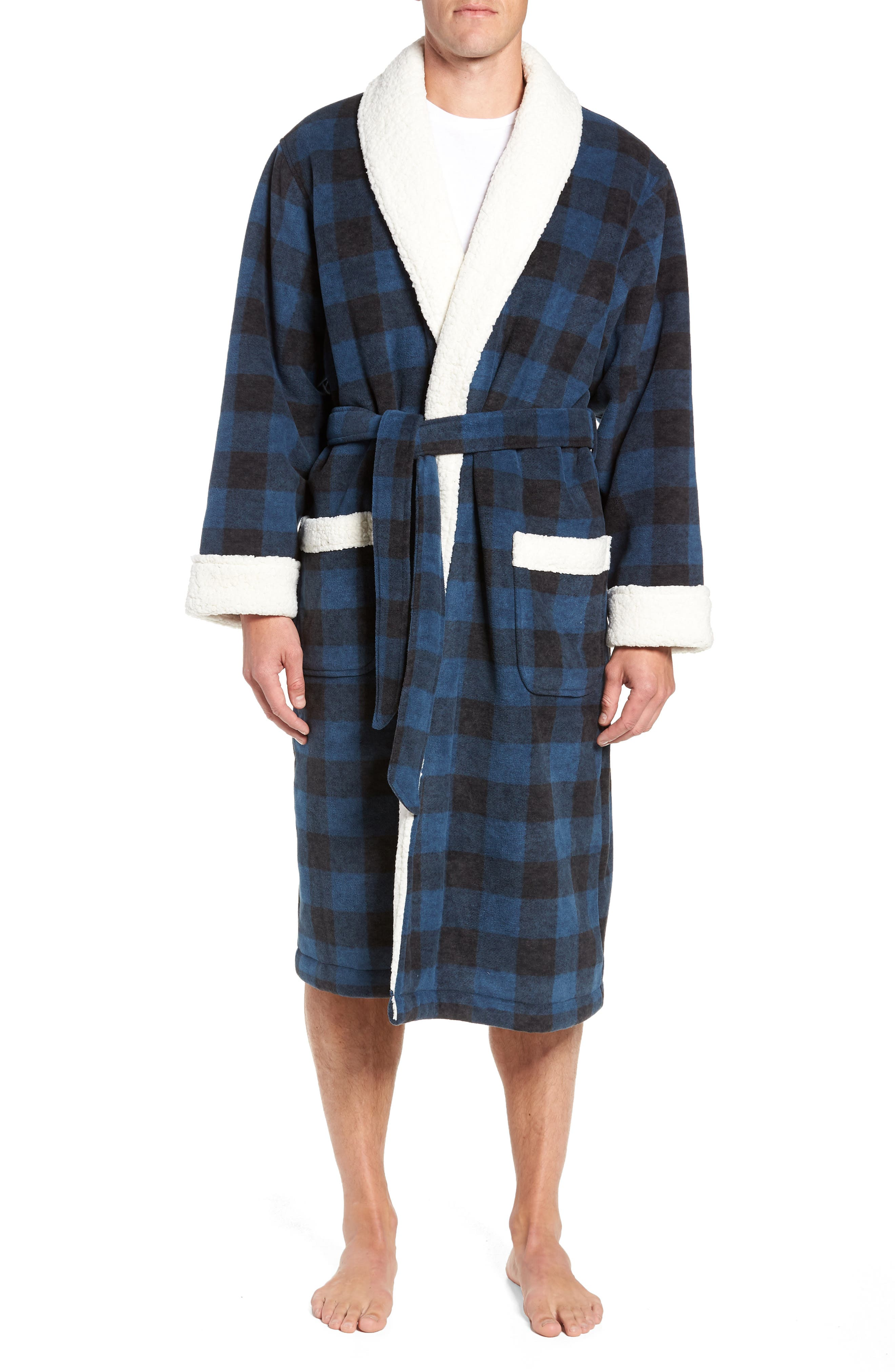 Plaid Fleece Robe with Faux Shearling Lining,                         Main,                         color, 410