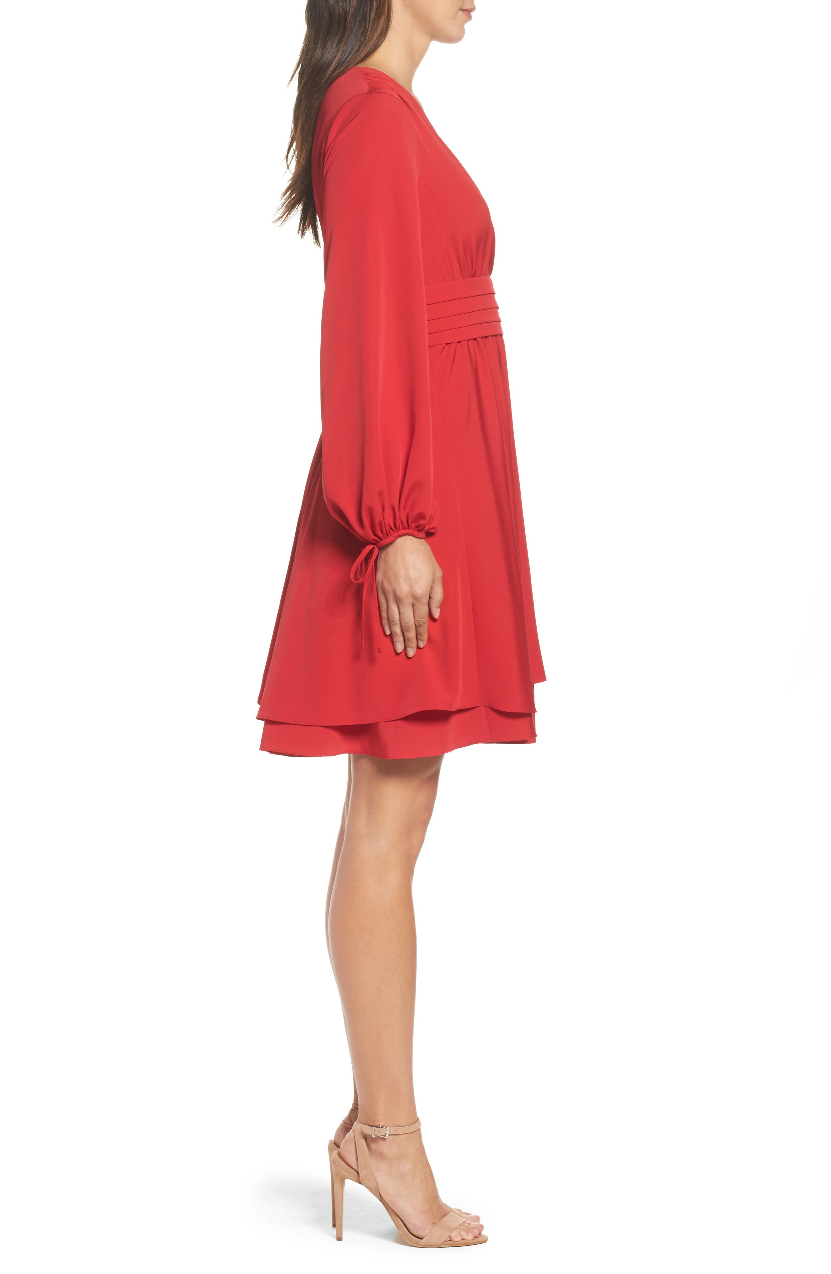 Tie Sleeve Fit & Flare Dress,                             Alternate thumbnail 3, color,                             610