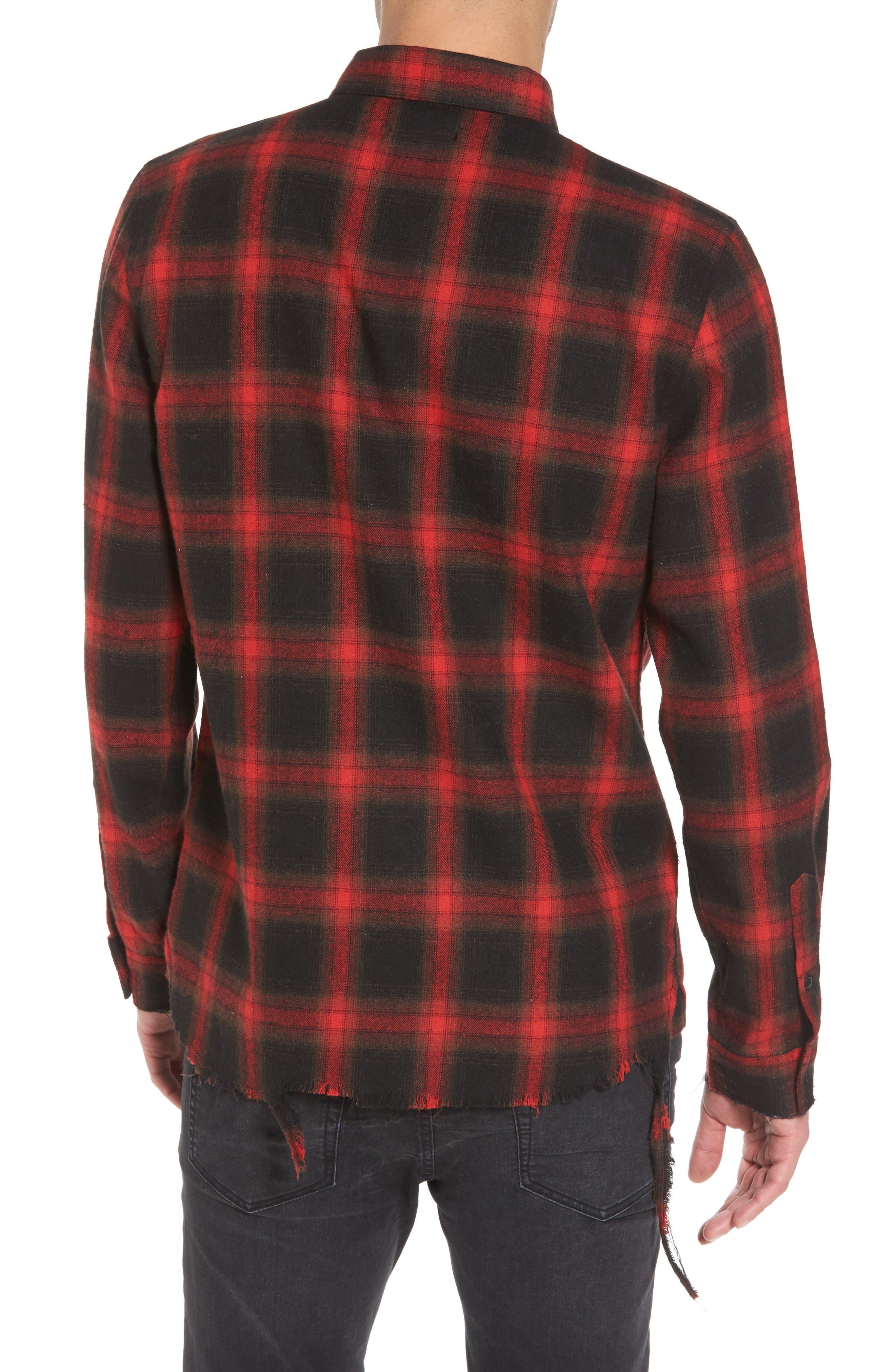 Shredded Plaid Flannel Shirt,                             Alternate thumbnail 2, color,                             001