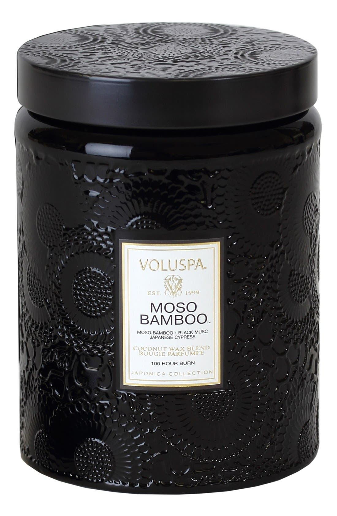 'Japonica - Moso Bamboo' Large Embossed Jar Candle,                             Main thumbnail 1, color,                             000