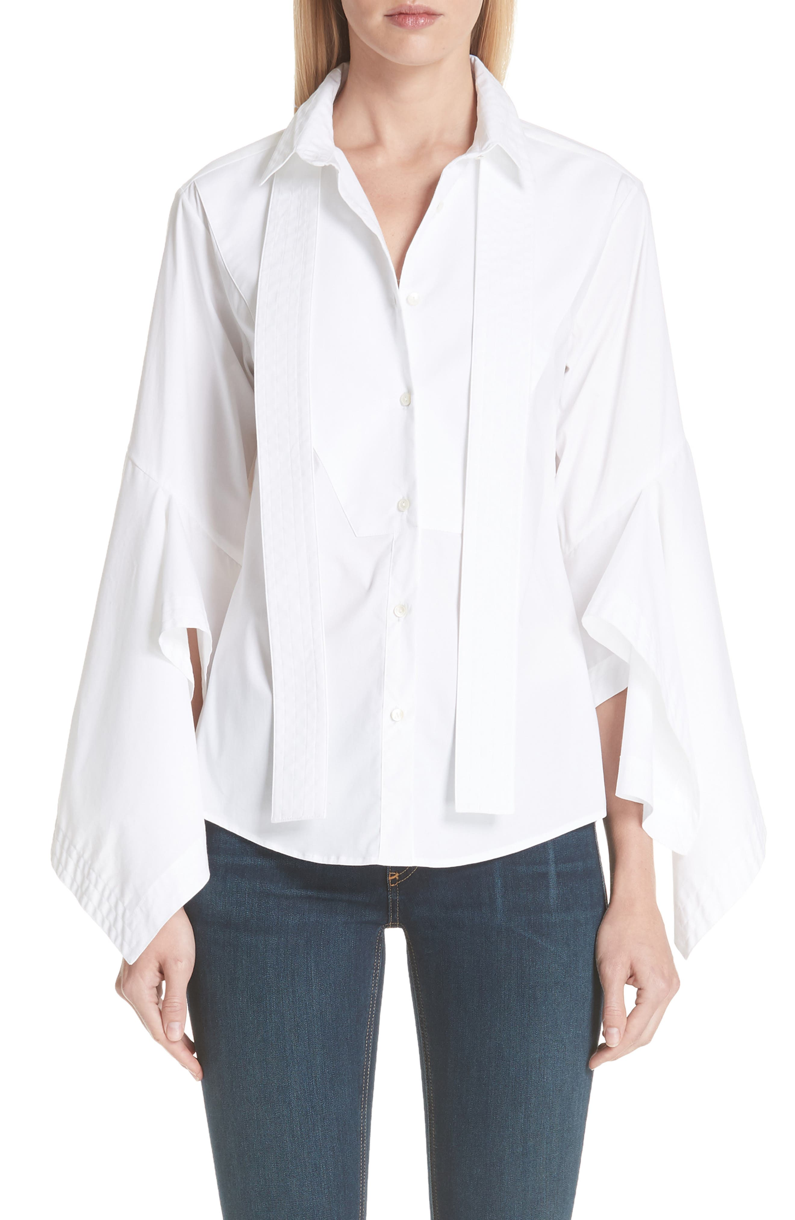 PALMER/HARDING Ruffle Sleeve Blouse, Main, color, 100