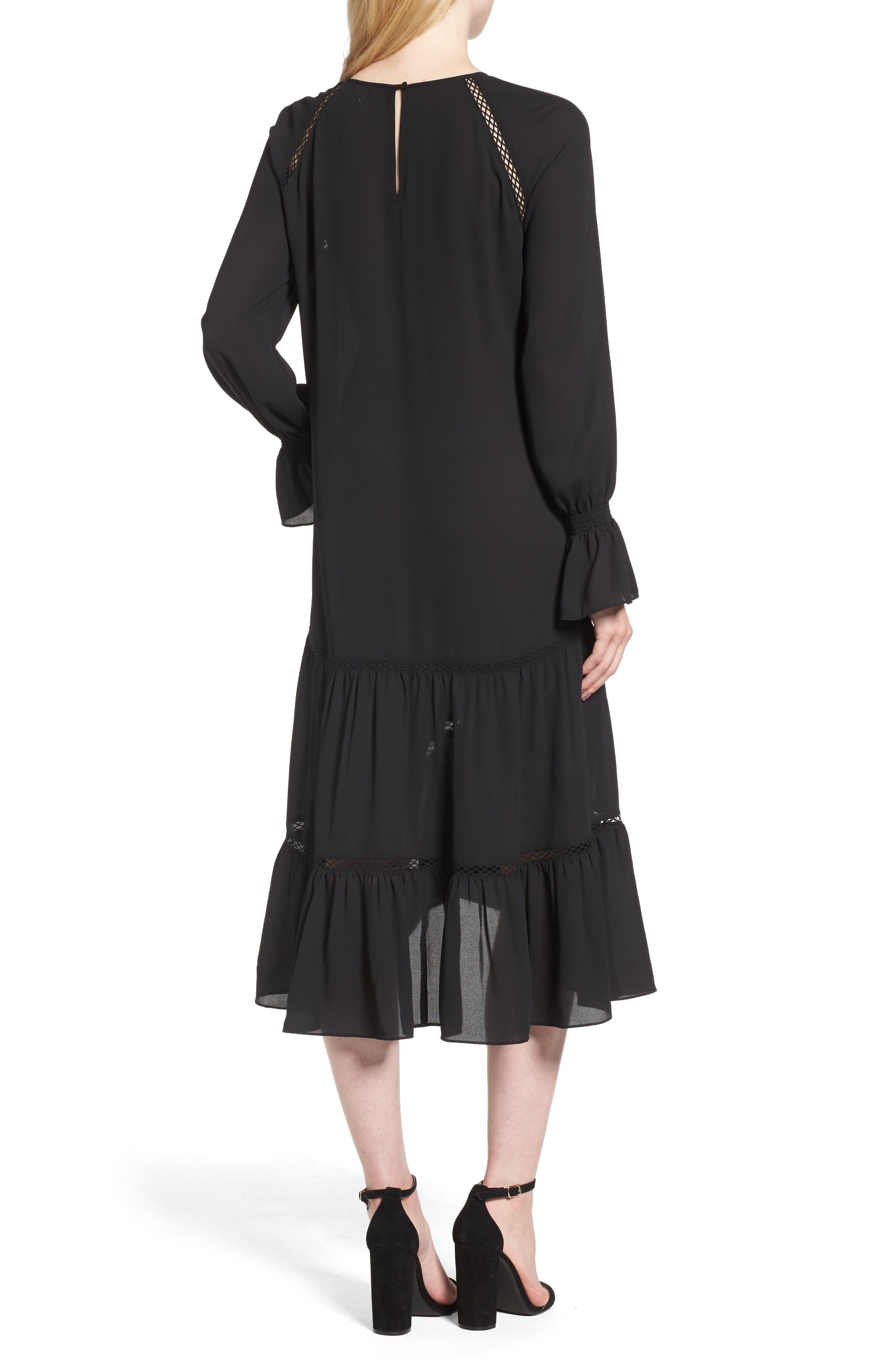 Drop Waist Midi Dress,                             Alternate thumbnail 2, color,                             001