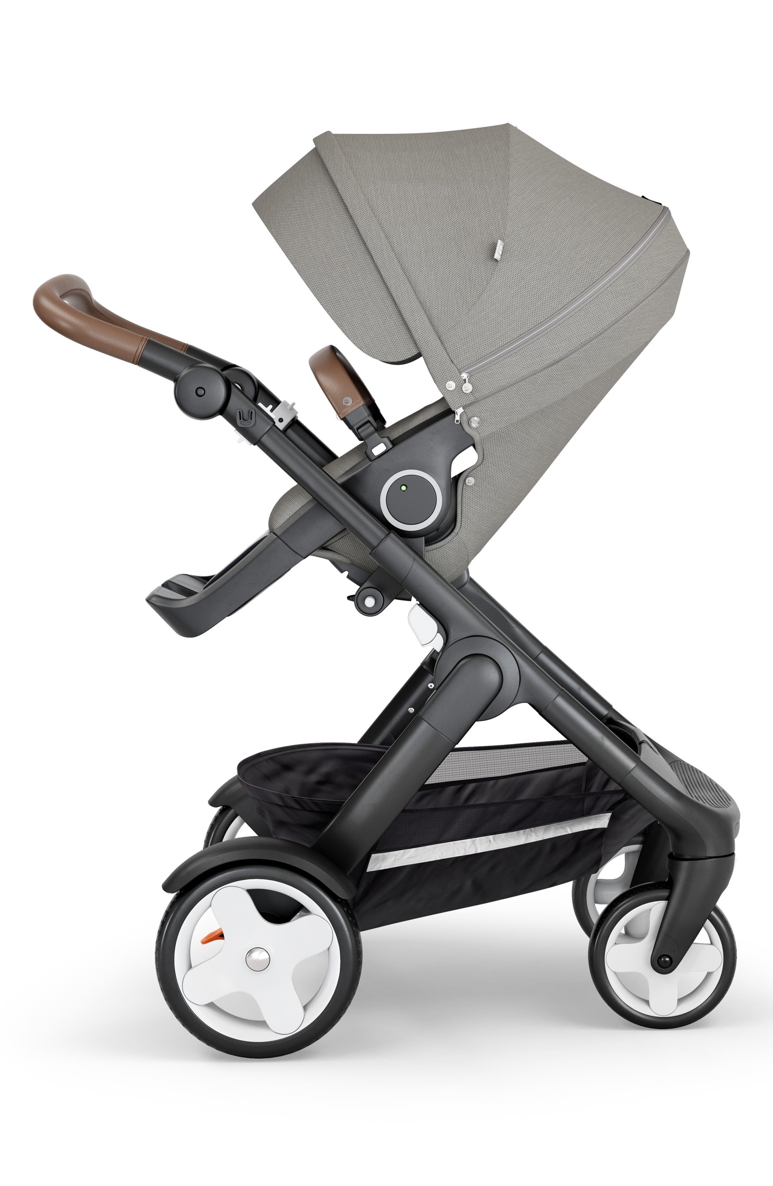 STOKKE,                             Trailz<sup>™</sup> All Terrain Black Chassis/Brown Faux Leather Handle Stroller,                             Main thumbnail 1, color,                             BRUSHED GREY
