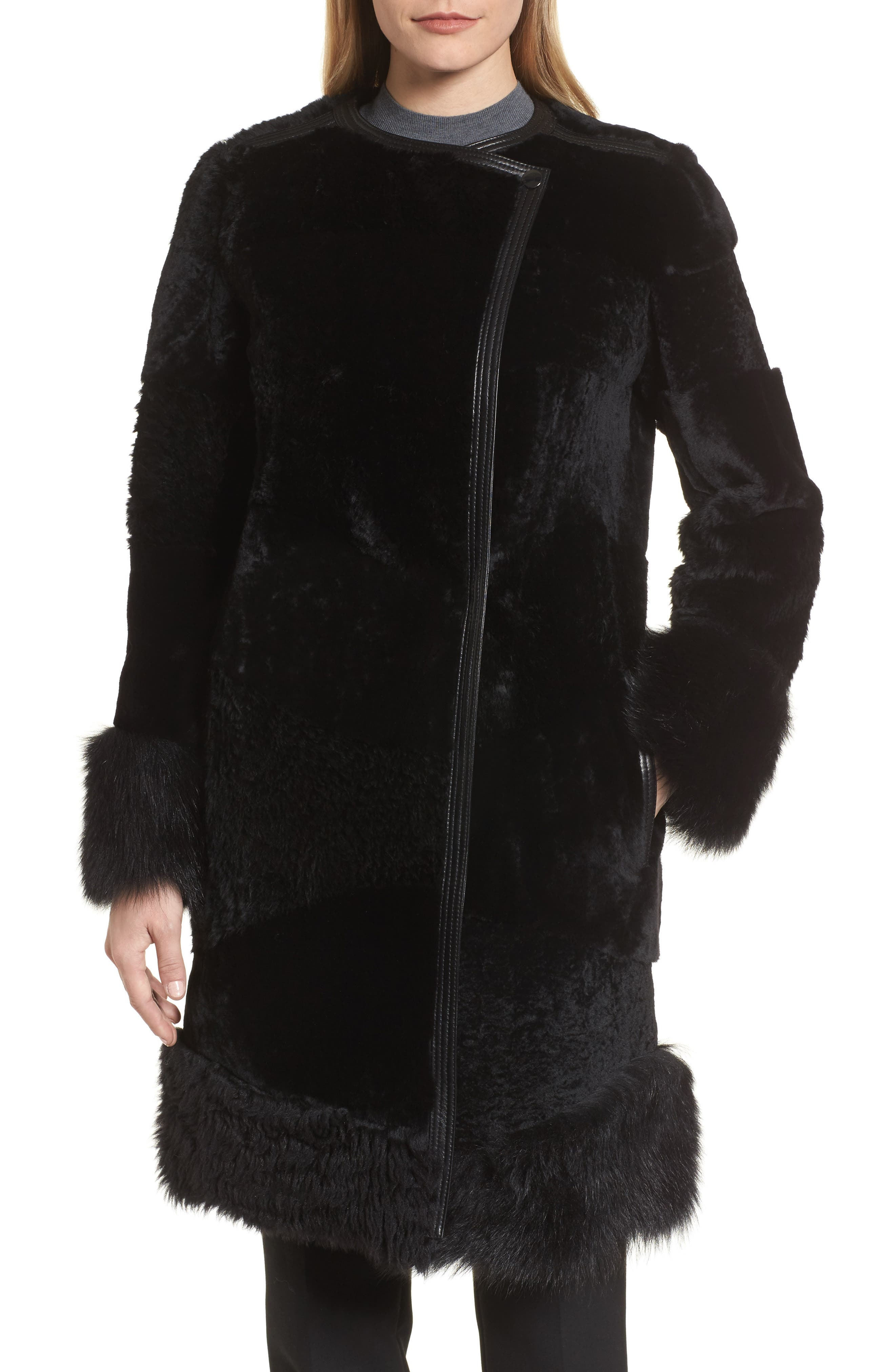 Sopora Long Genuine Shearling & Leather Trim Jacket,                         Main,                         color, 001