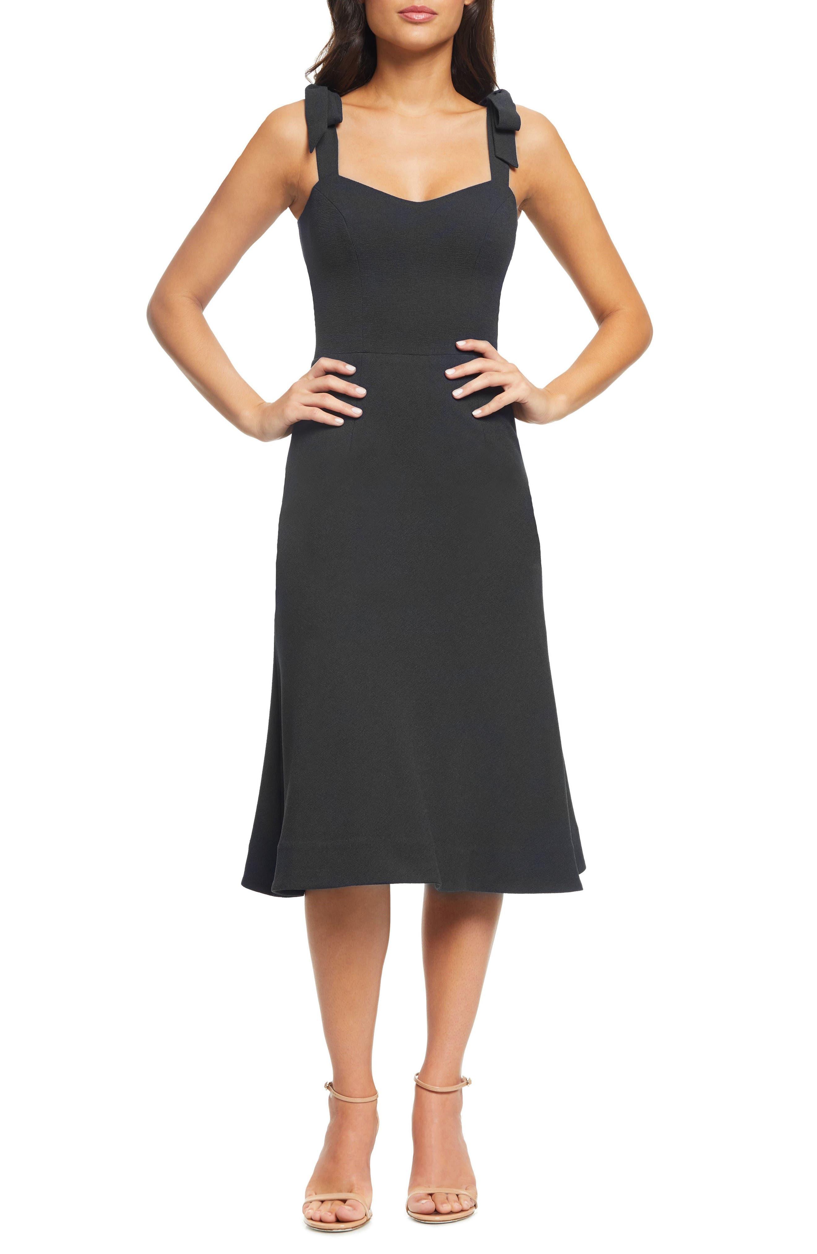 Dress The Population Hana Tie Shoulder Cocktail Dress, Black