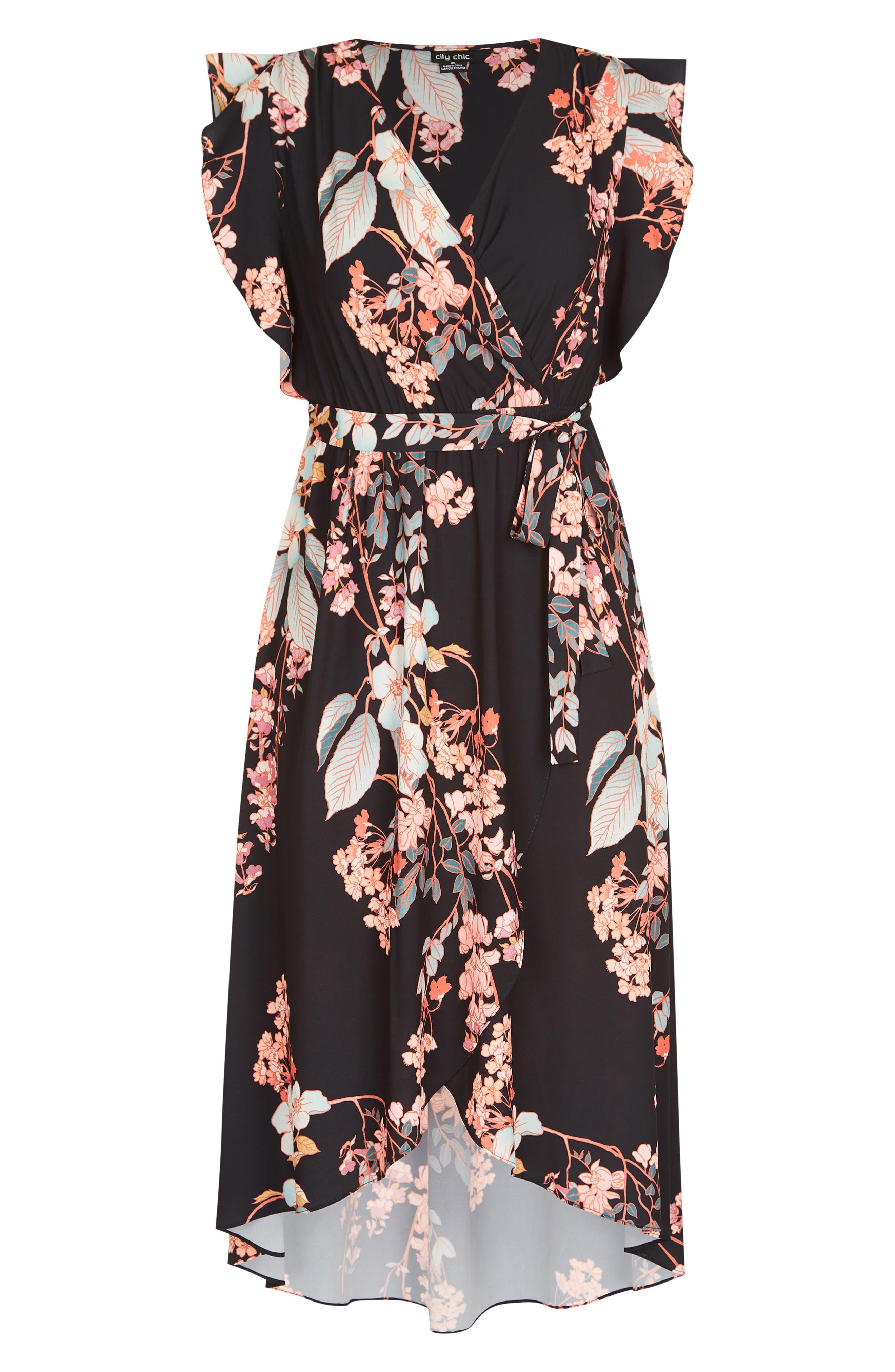 CITY CHIC,                             Delilah Faux Wrap Maxi Dress,                             Alternate thumbnail 3, color,                             DELILAH