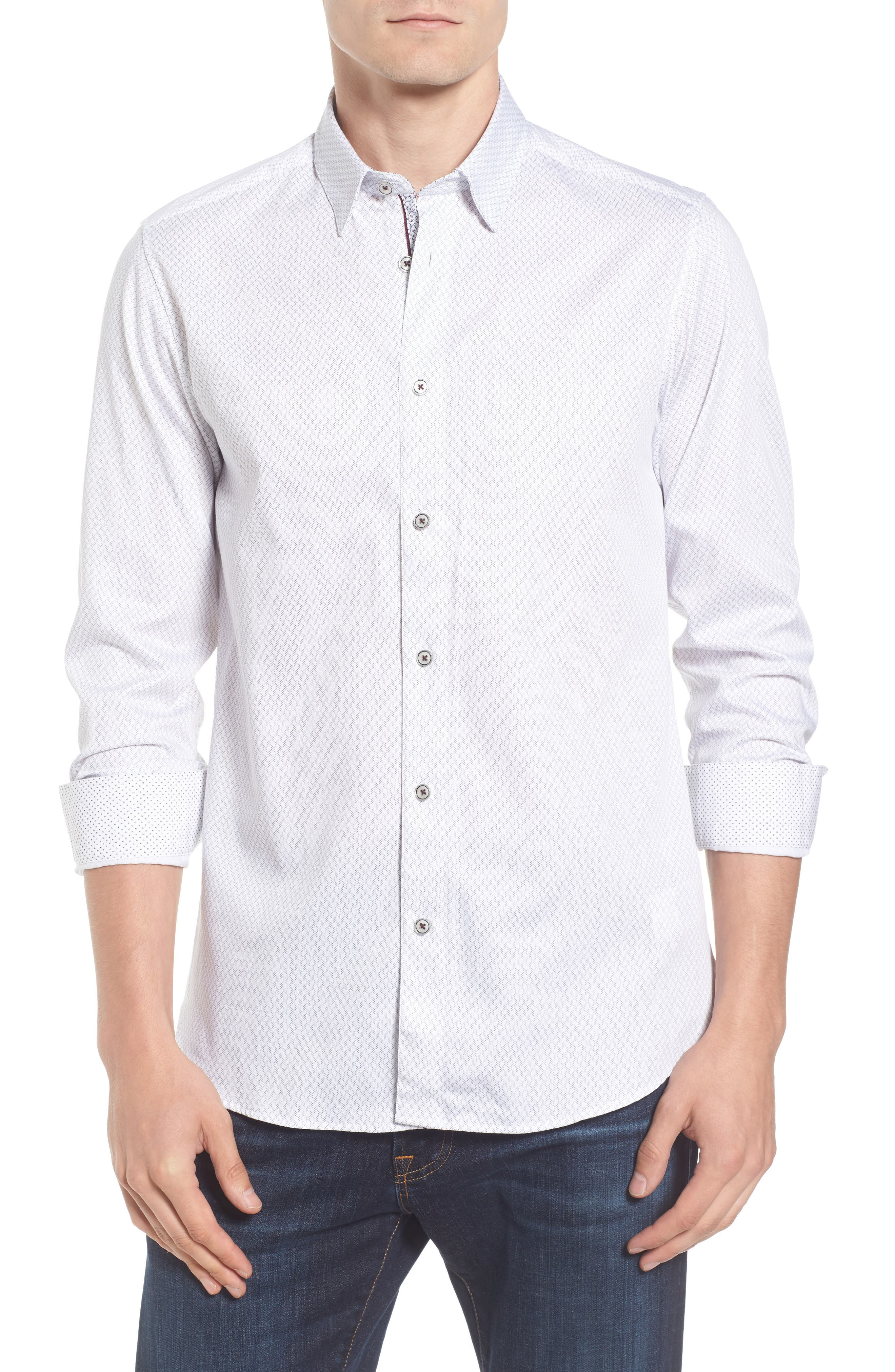 Modern Slim Fit Print Sport Shirt,                             Main thumbnail 1, color,                             110