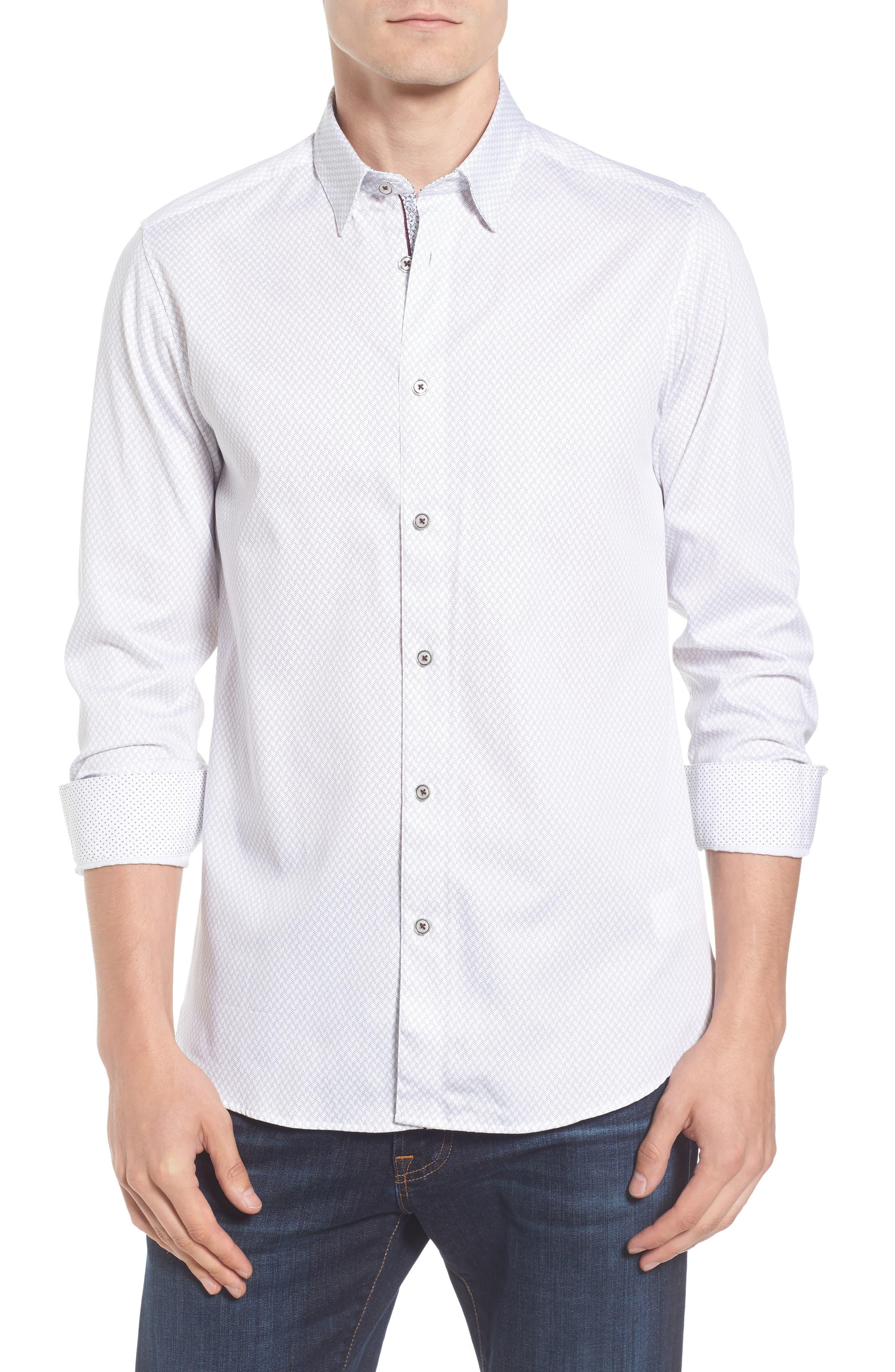 Modern Slim Fit Print Sport Shirt,                         Main,                         color, 110