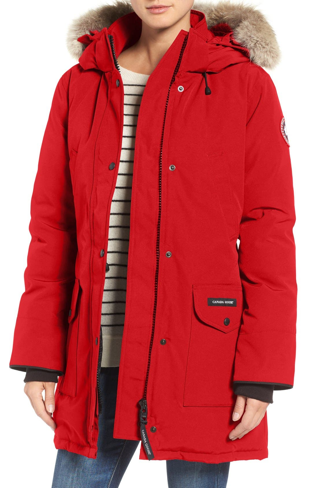 Trillium Fusion Fit Hooded Parka with Genuine Coyote Fur Trim,                             Main thumbnail 1, color,                             RED