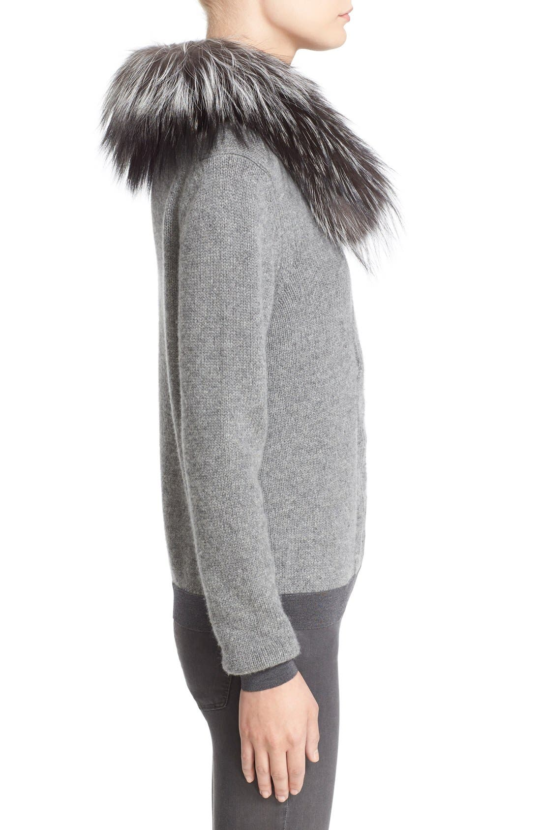 Wool & Cashmere Sweater with Removable Genuine Fox Fur Collar,                             Alternate thumbnail 7, color,                             031