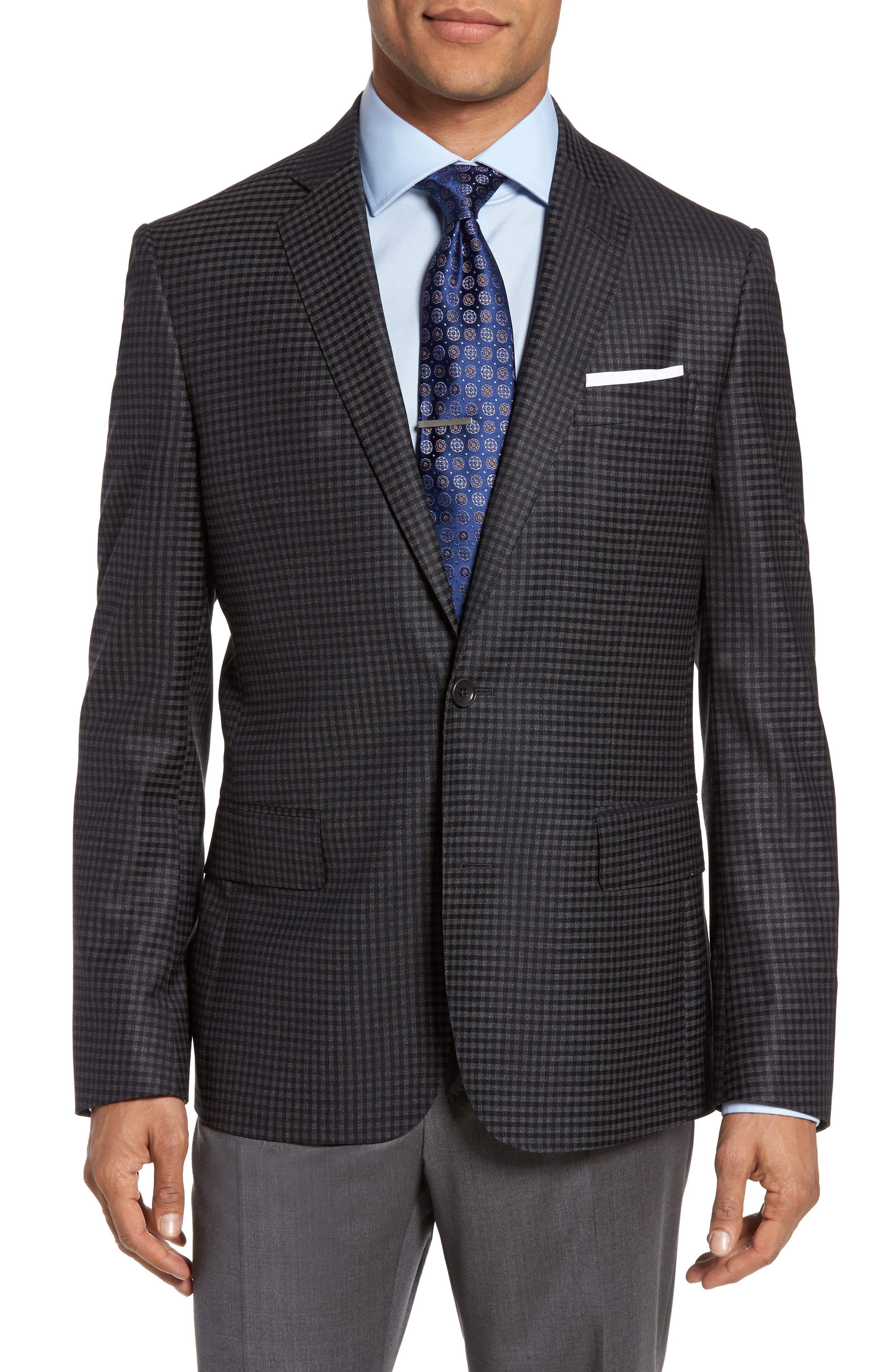 Classic Fit Check Wool Sport Coat,                             Main thumbnail 1, color,                             099