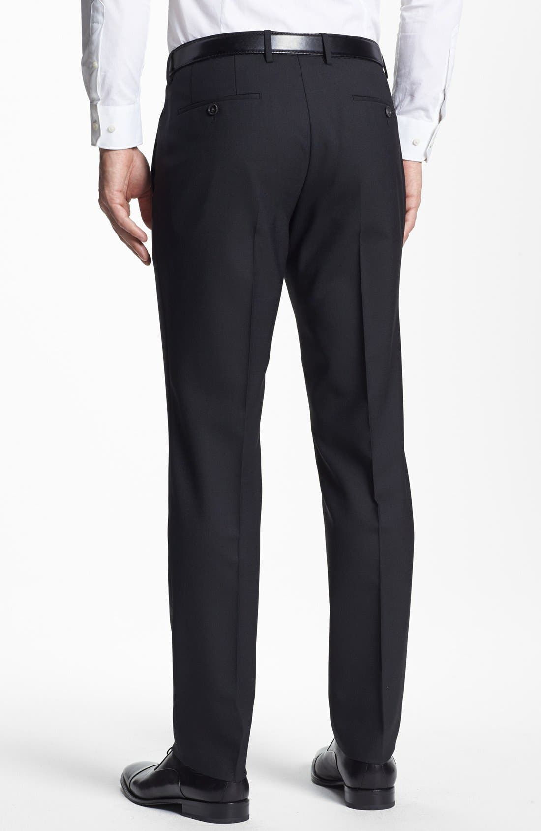 BOSS HUGO BOSS 'Genesis' Flat Front Trousers,                             Alternate thumbnail 3, color,                             001