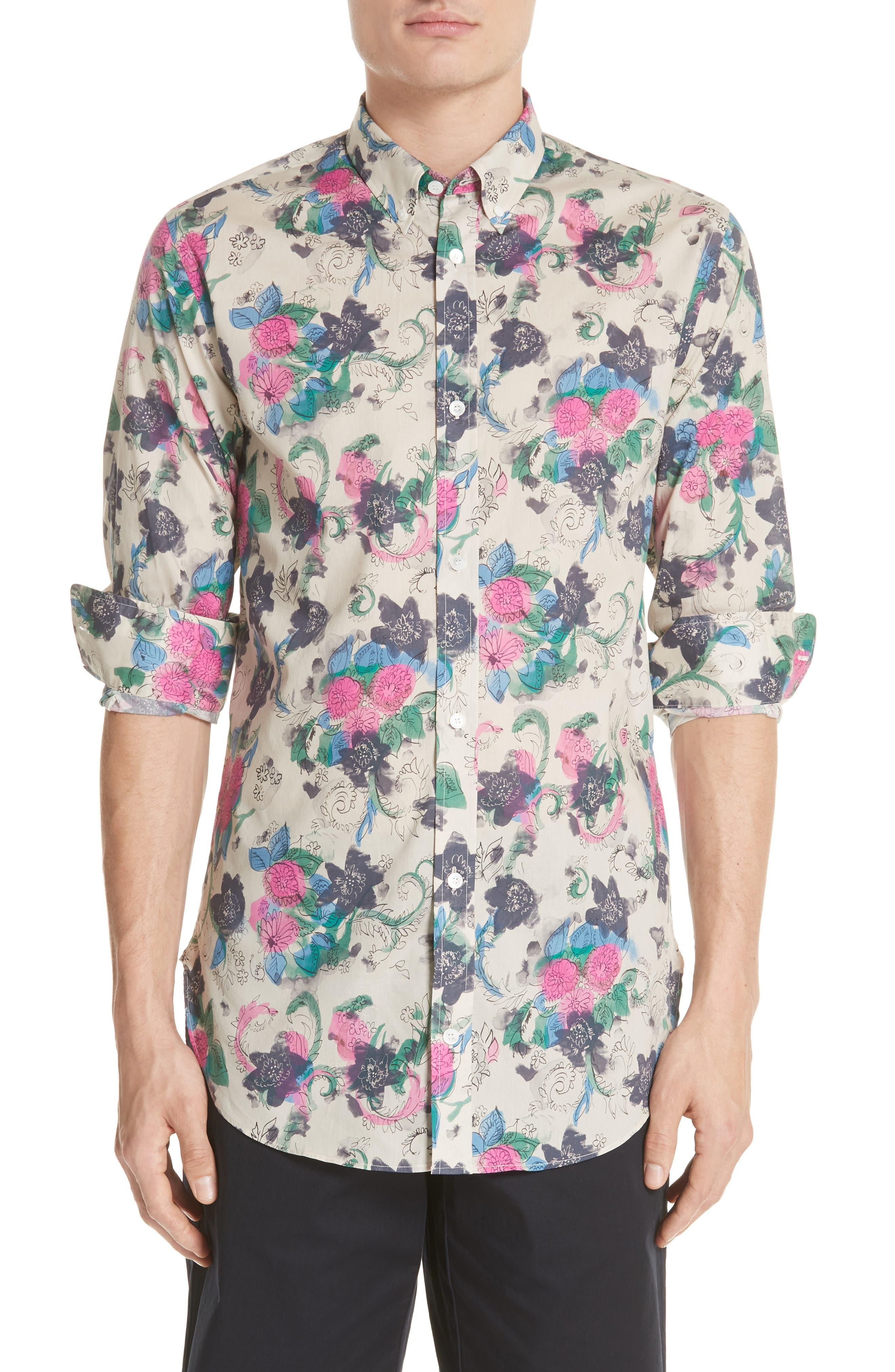 Strenton Floral Print Shirt,                         Main,                         color, 250
