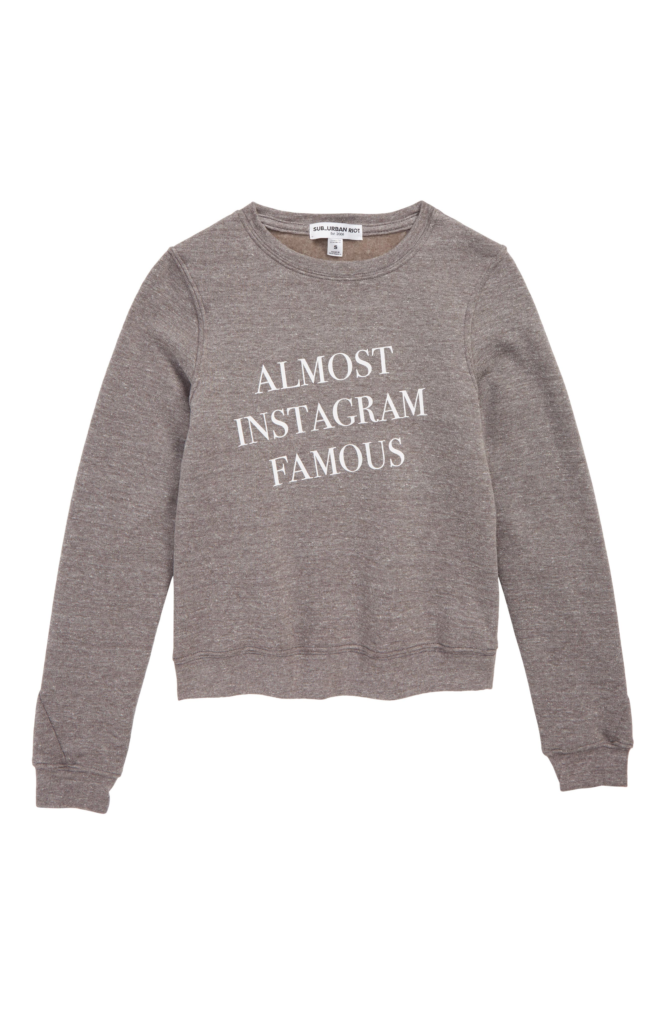 Almost Instagram Famous Pullover,                             Main thumbnail 1, color,                             GRAY