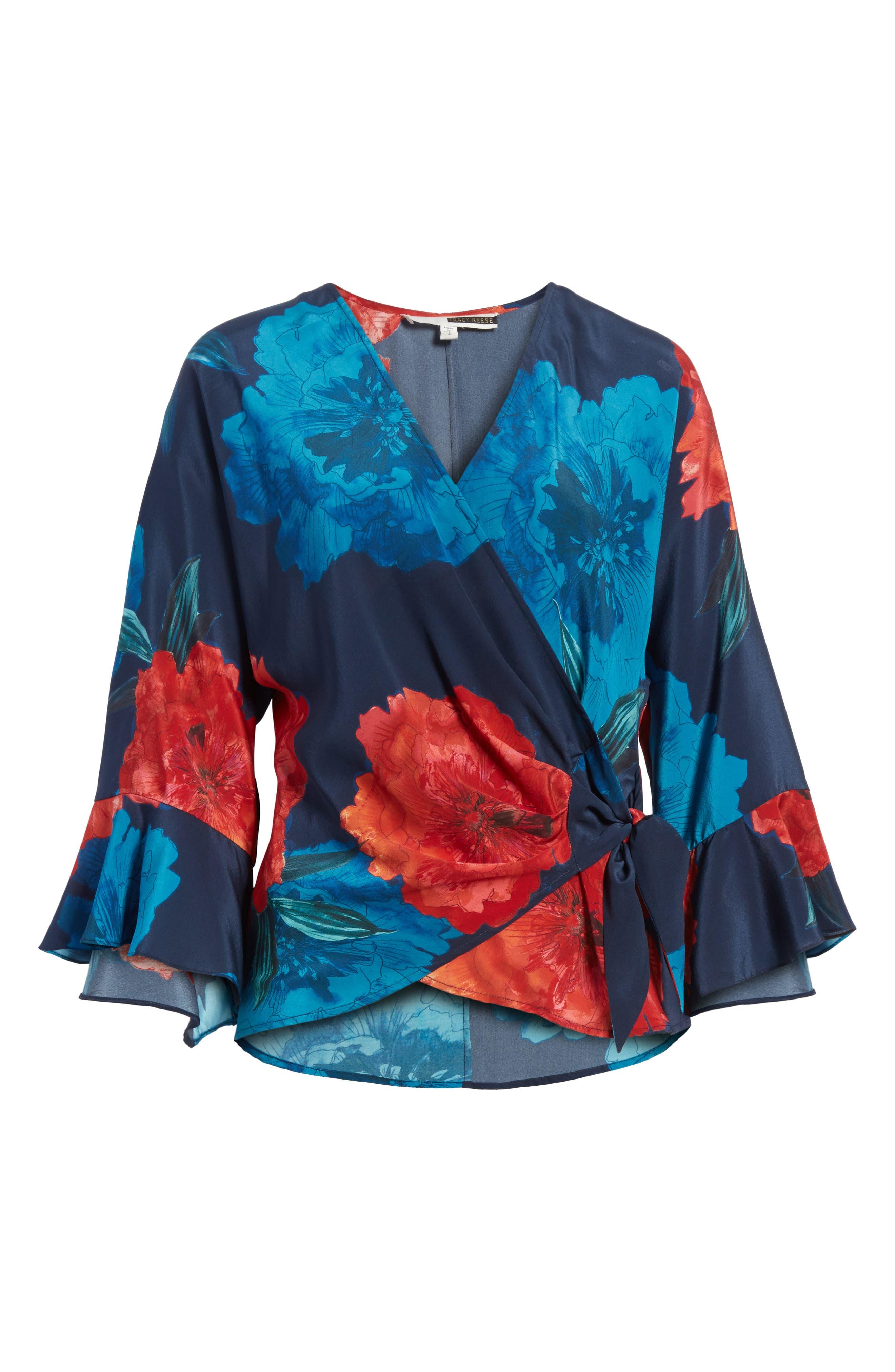 Floral Surplice Silk Blouse,                             Alternate thumbnail 6, color,                             002