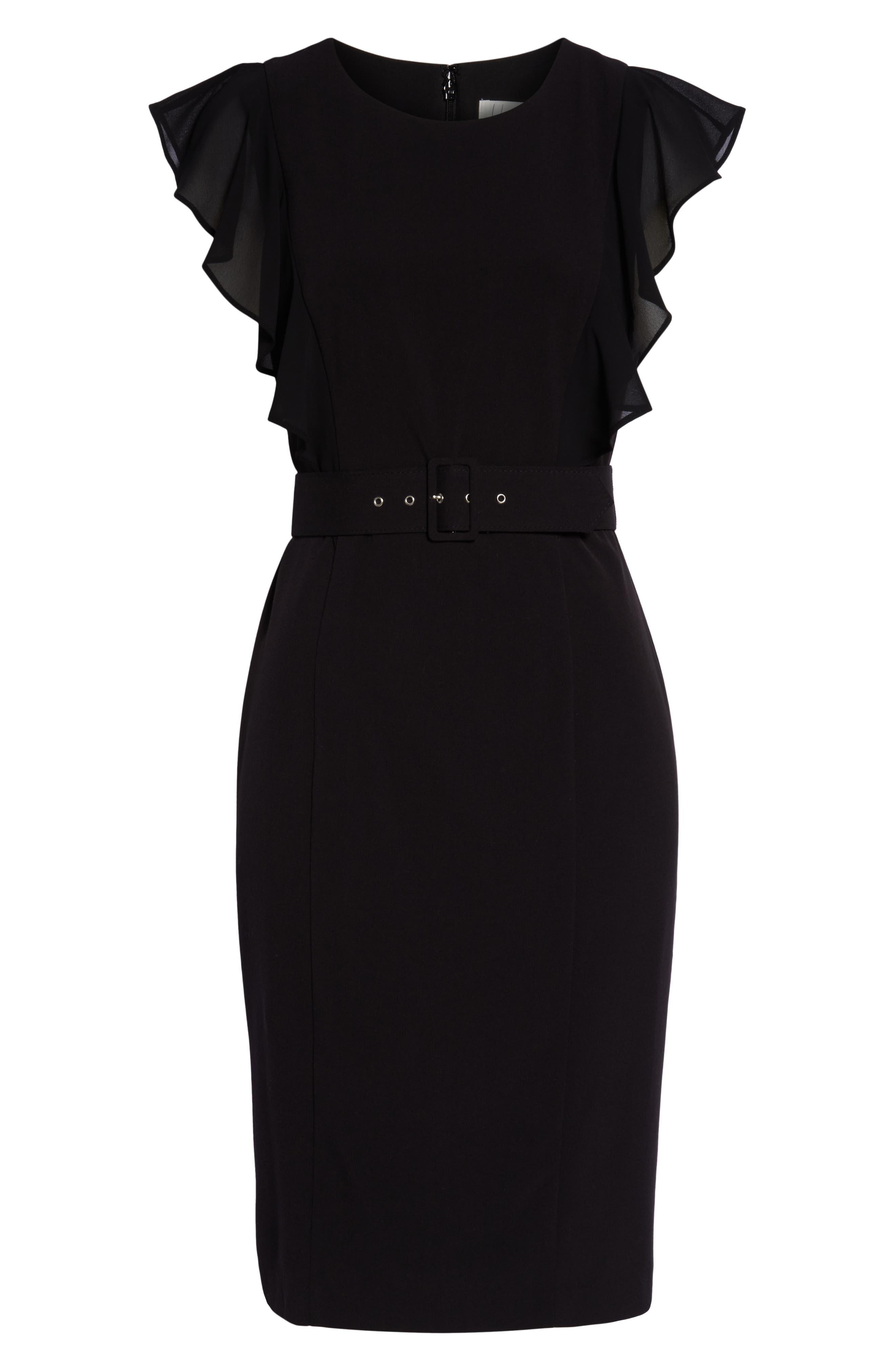 HARPER ROSE,                             Belted Sheath Dress,                             Alternate thumbnail 7, color,                             BLACK