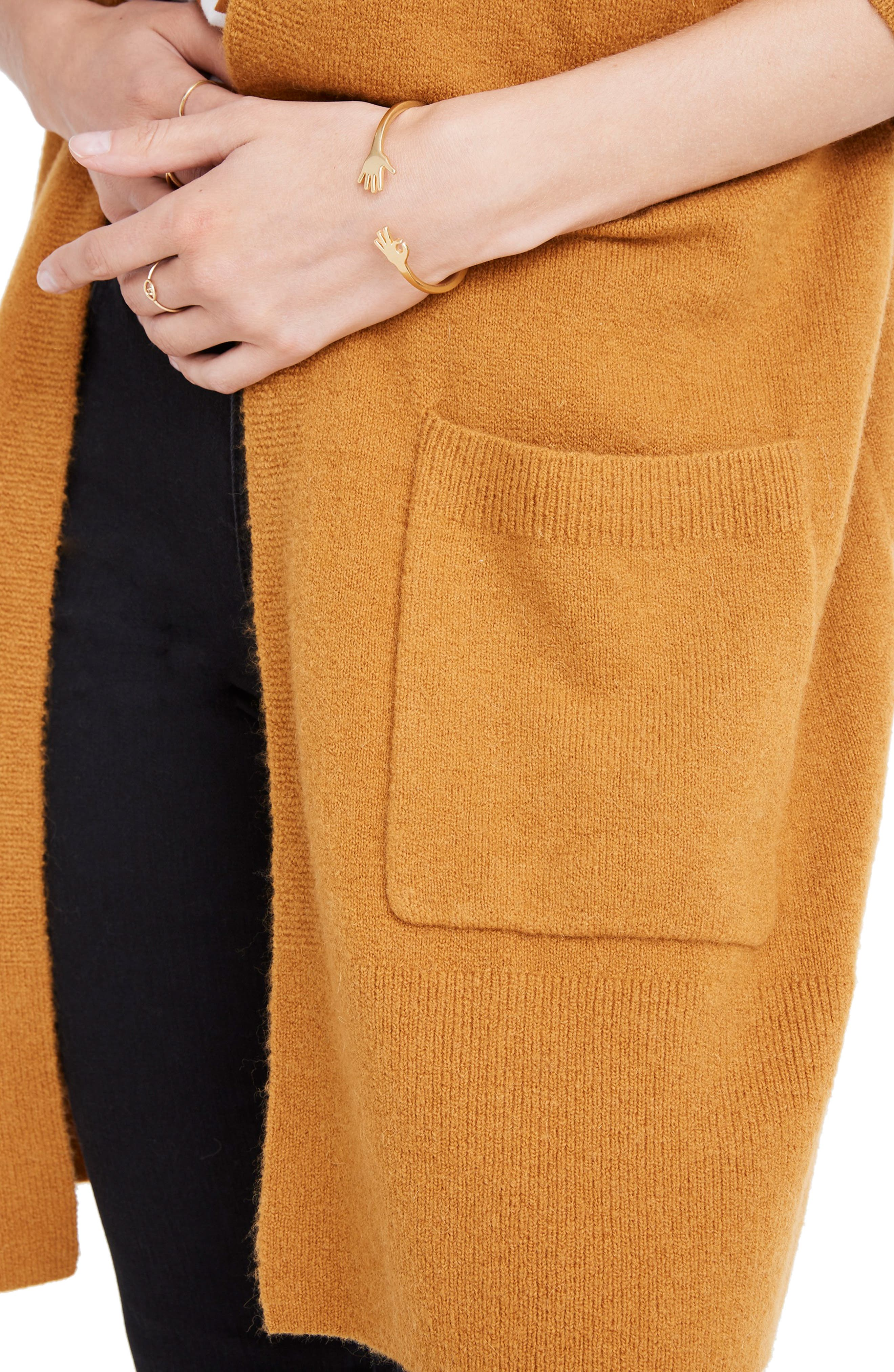 MADEWELL,                             Kent Cardigan Sweater,                             Alternate thumbnail 4, color,                             GOLDEN HARVEST