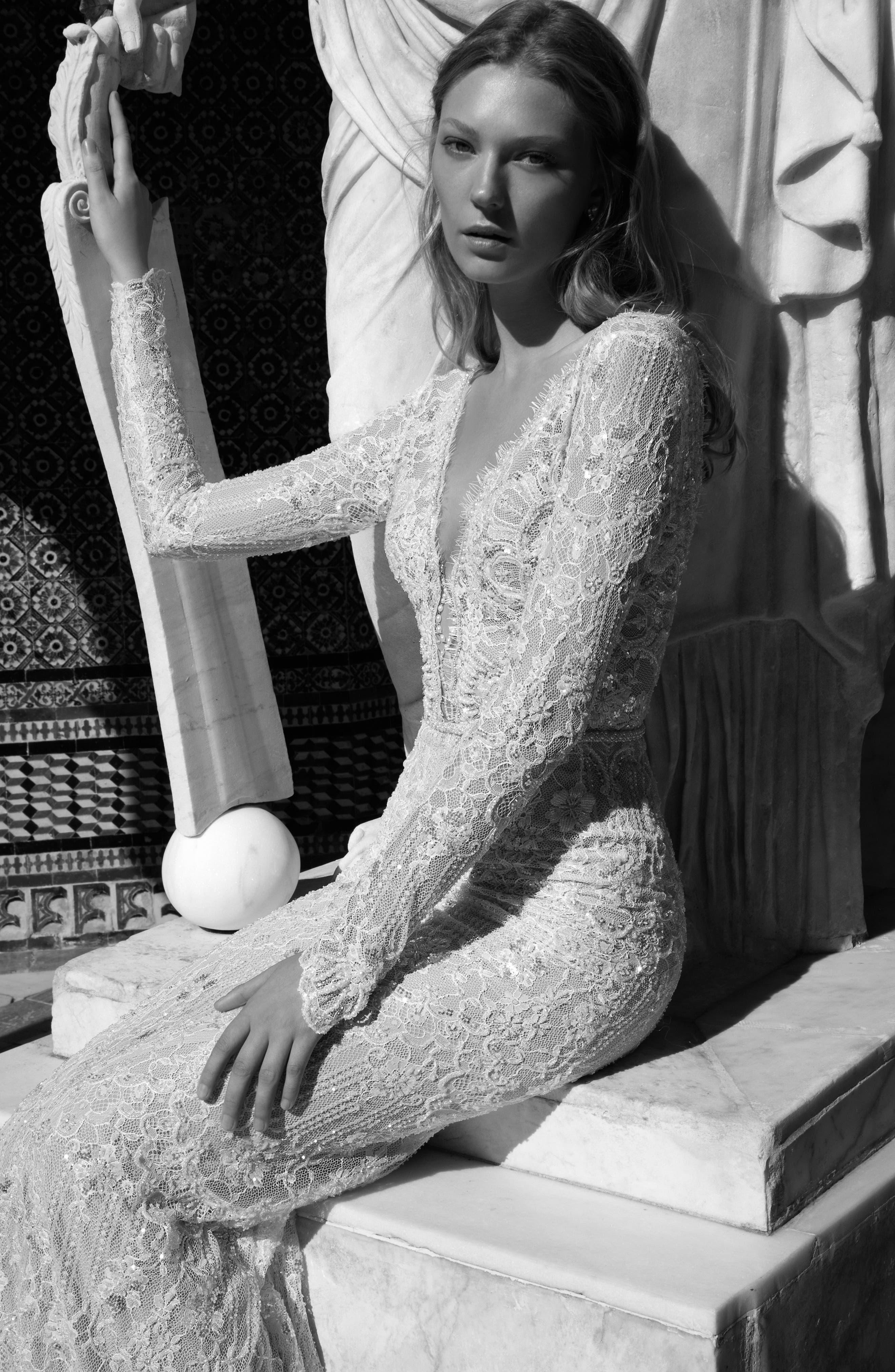 Kim Embellished Lace V-Neck Gown,                             Alternate thumbnail 2, color,                             900