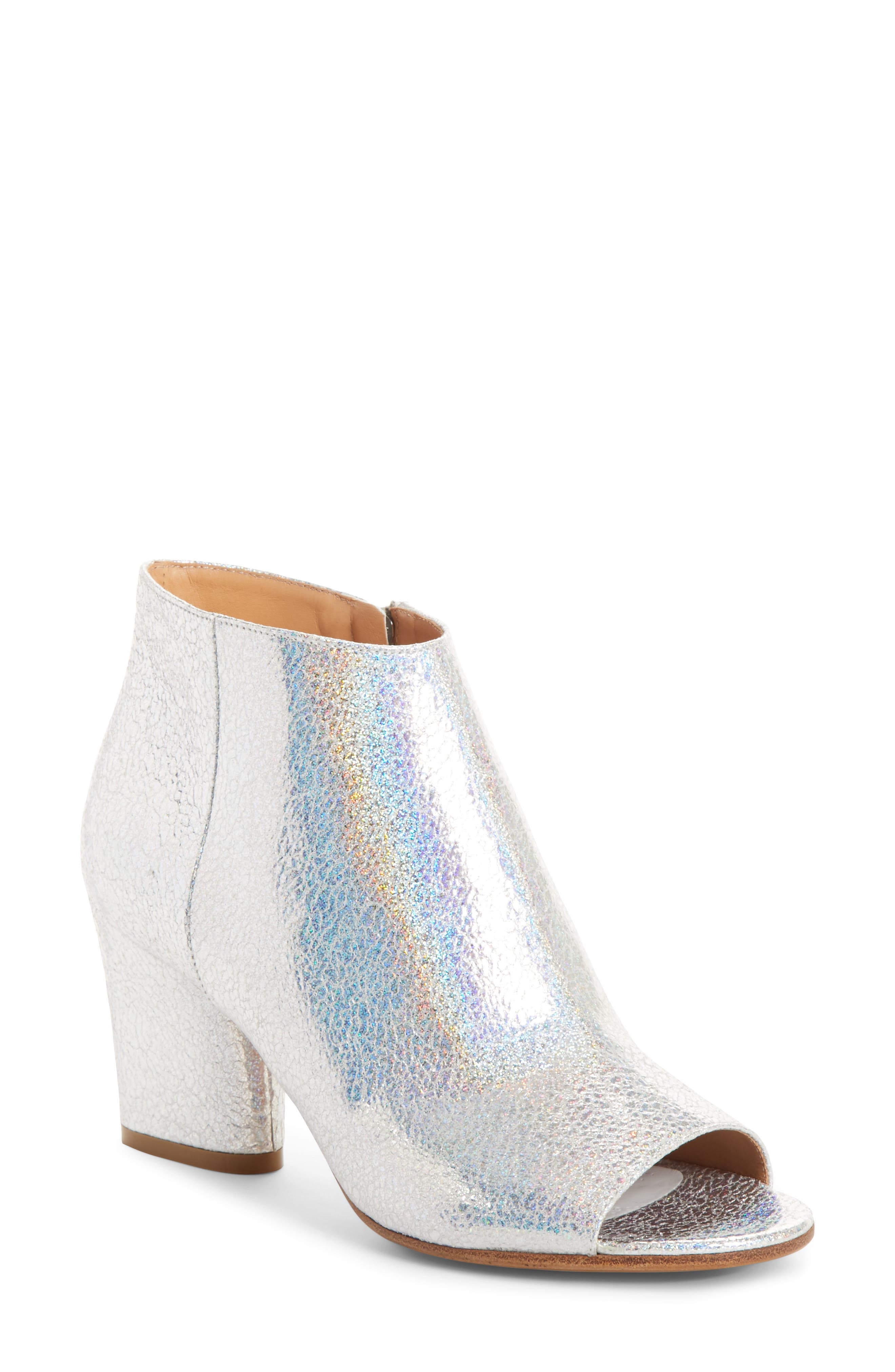 Metallic Open Toe Ankle Boot, Main, color, 040