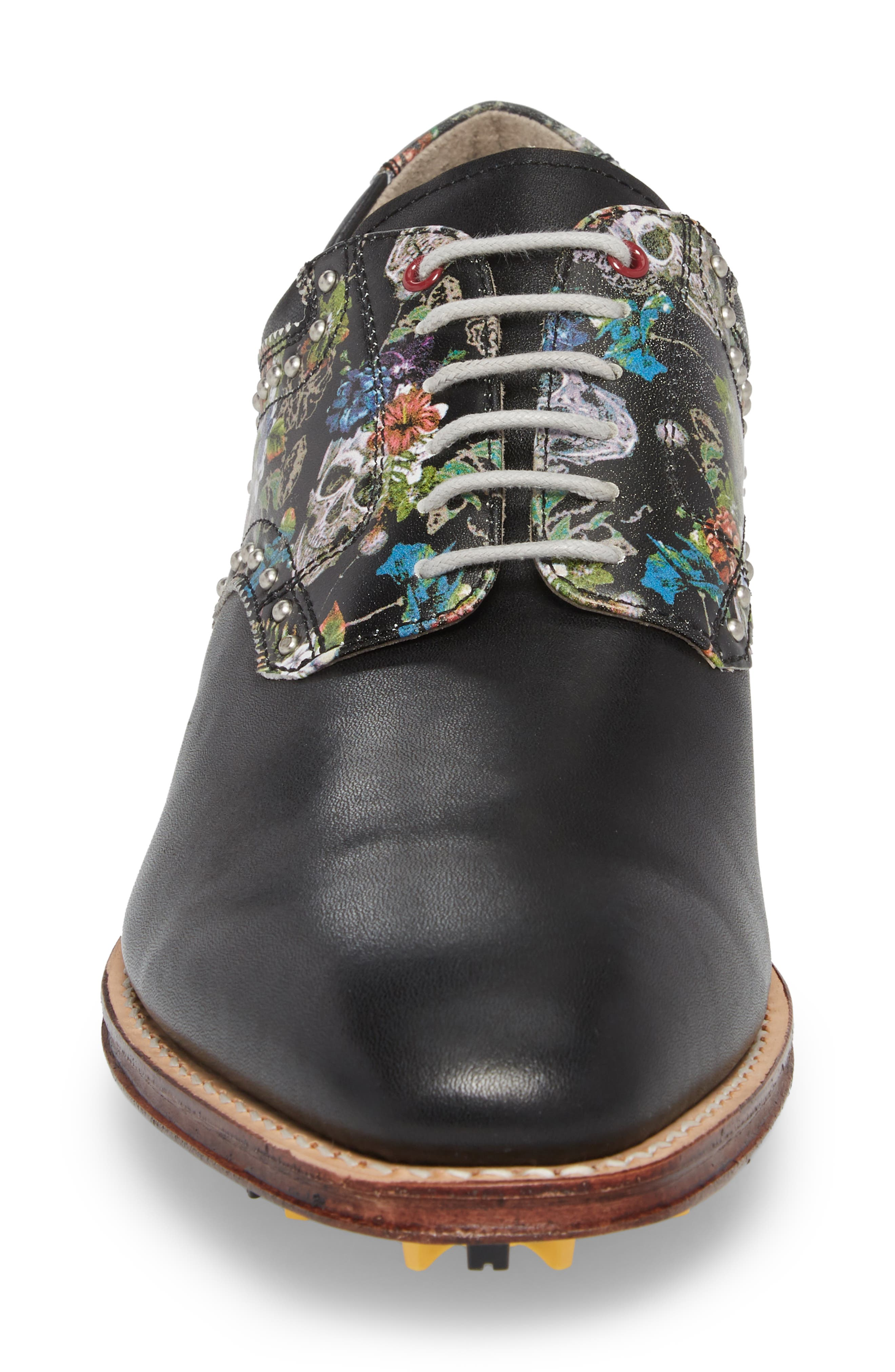 Legend Wingtip Oxford with Removable Cleats,                             Alternate thumbnail 4, color,                             BLACK LEATHER