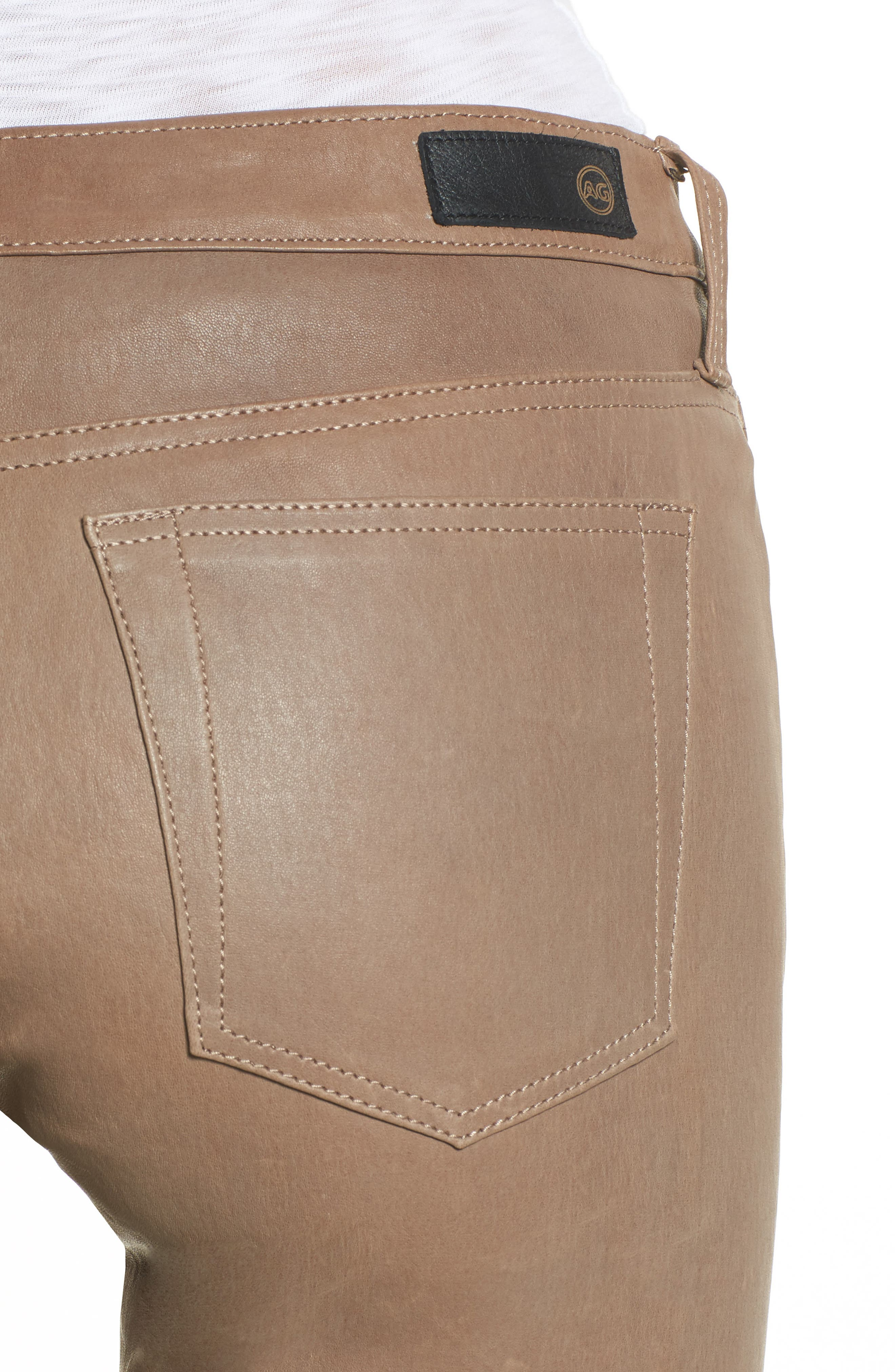 The Legging Super Skinny Leather Pants,                             Alternate thumbnail 4, color,                             RUSTIC TAUPE