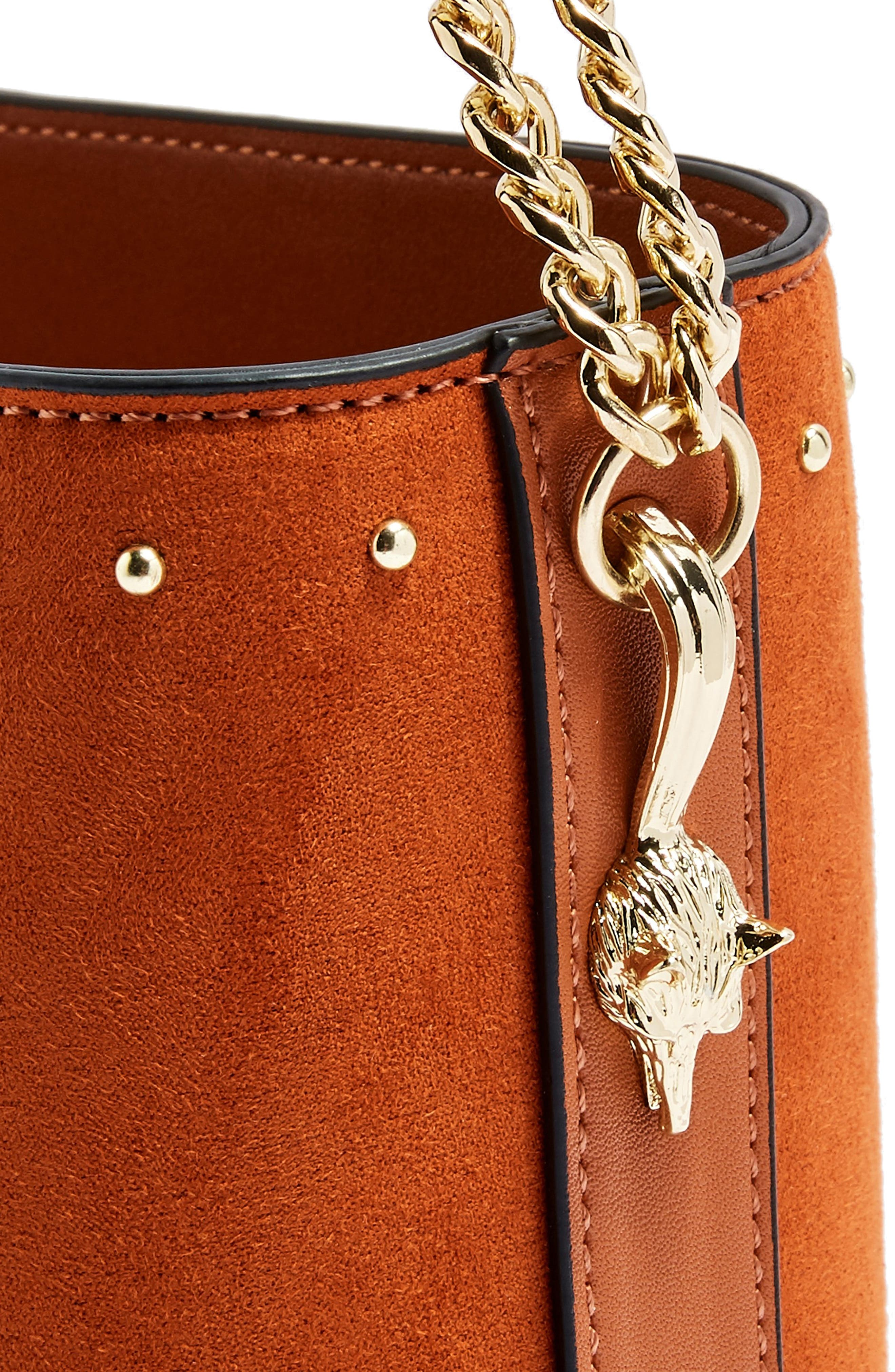 Foxy Bucket Bag,                             Alternate thumbnail 4, color,                             BROWN