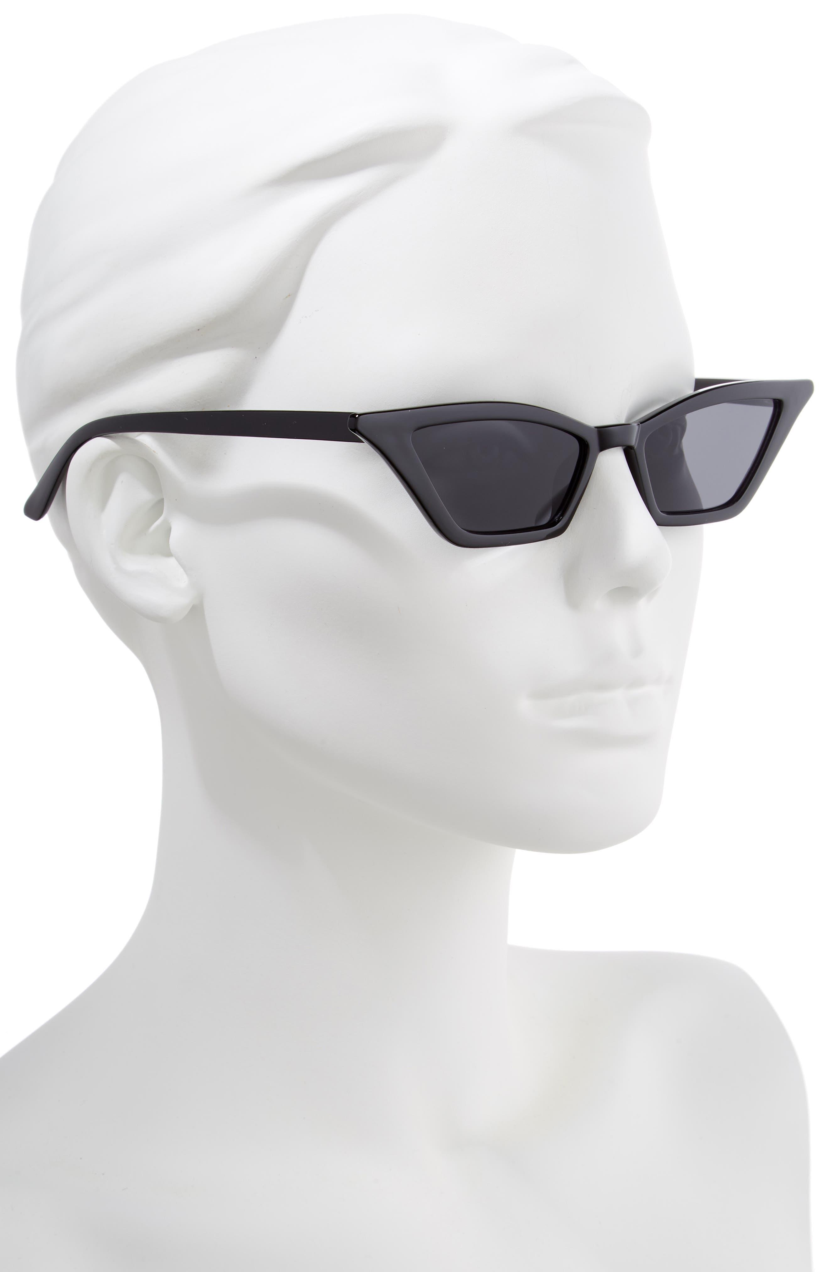 54mm Geometric Sunglasses,                             Alternate thumbnail 2, color,                             BLACK/ BLACK