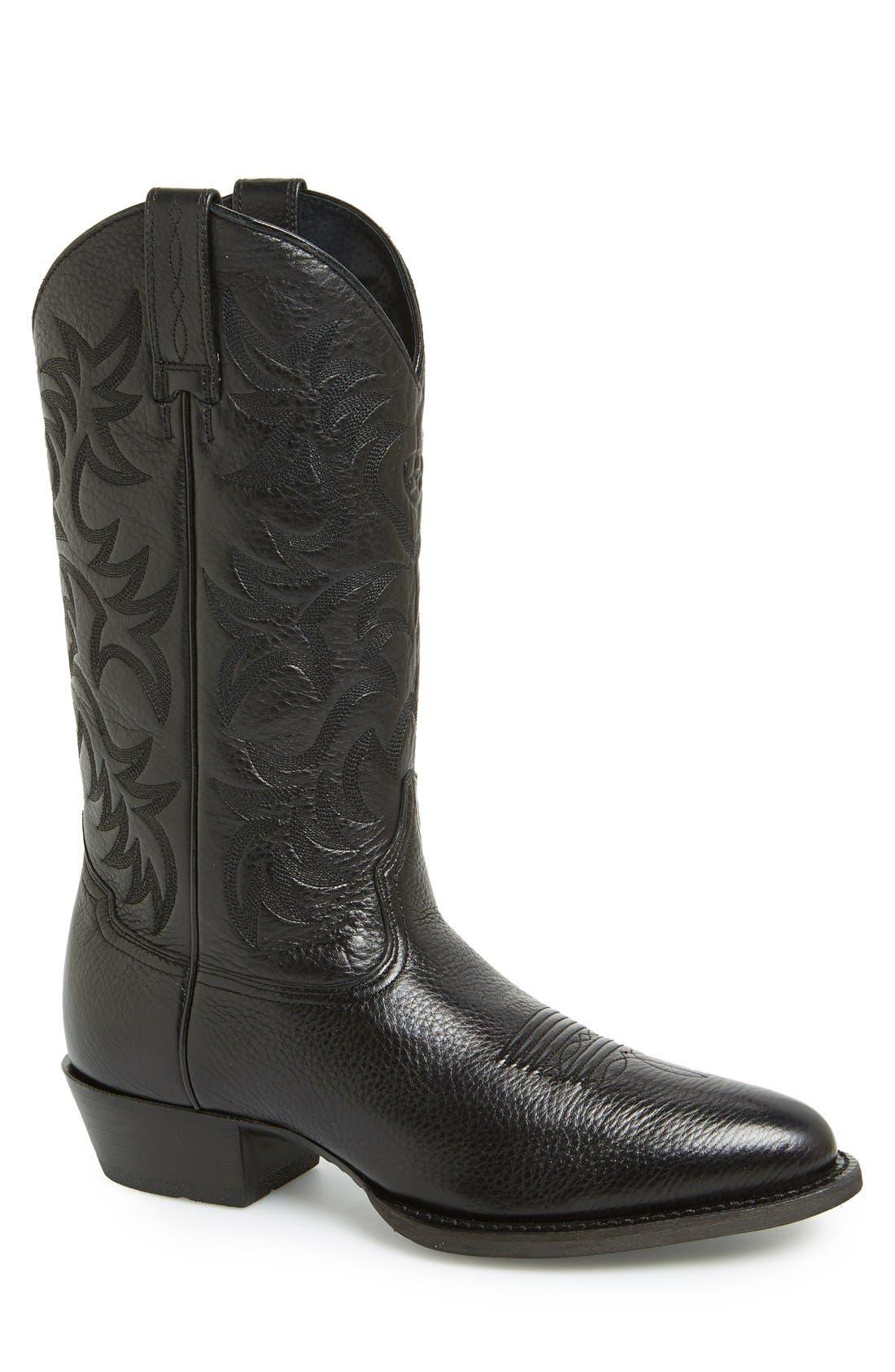'Heritage' Leather Cowboy R-Toe Boot,                             Main thumbnail 1, color,                             BLACK DEERTAN