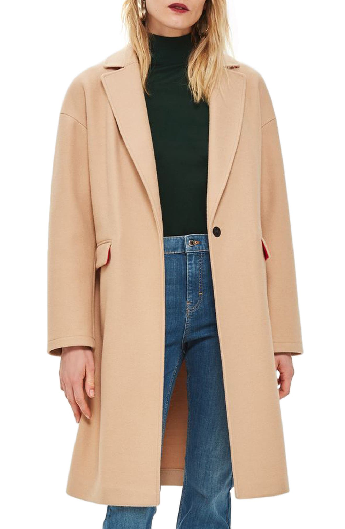 Lily Knit Back Midi Coat,                         Main,                         color, CAMEL