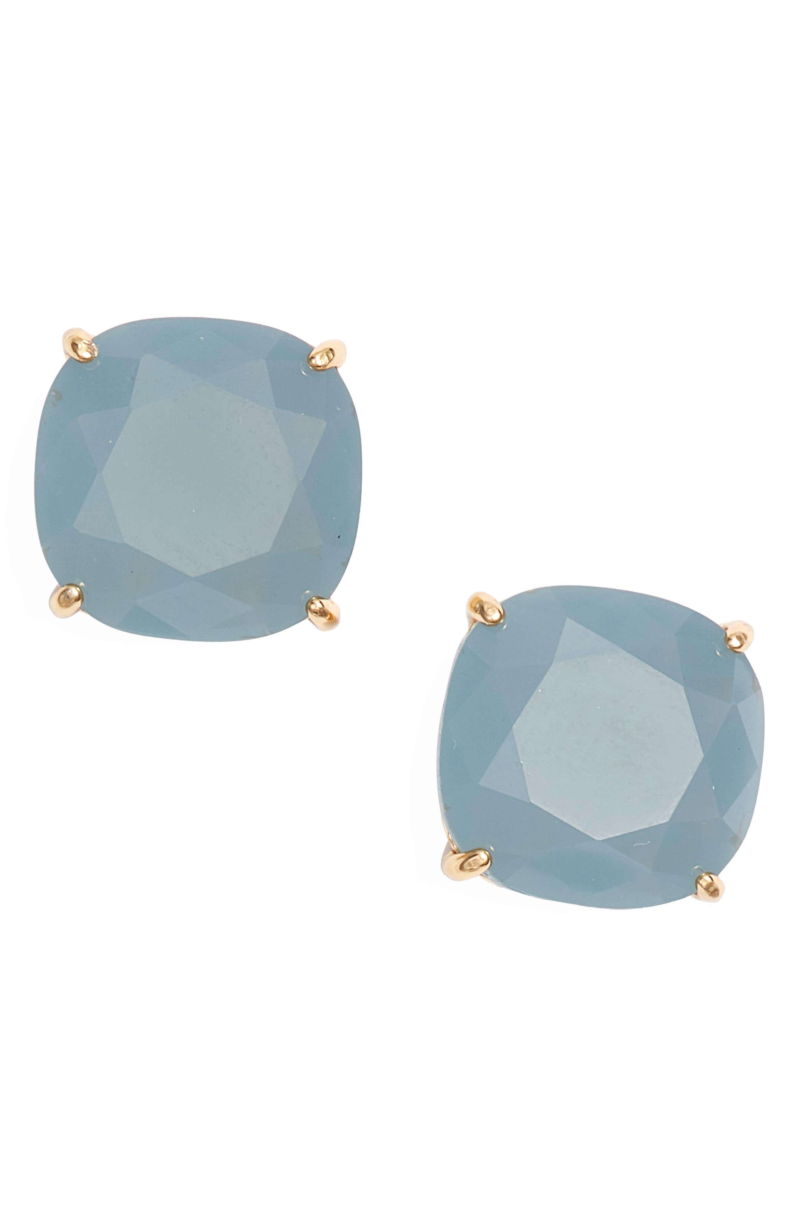 KATE SPADE NEW YORK,                             small square stud earrings,                             Main thumbnail 1, color,                             SERENE BLUE