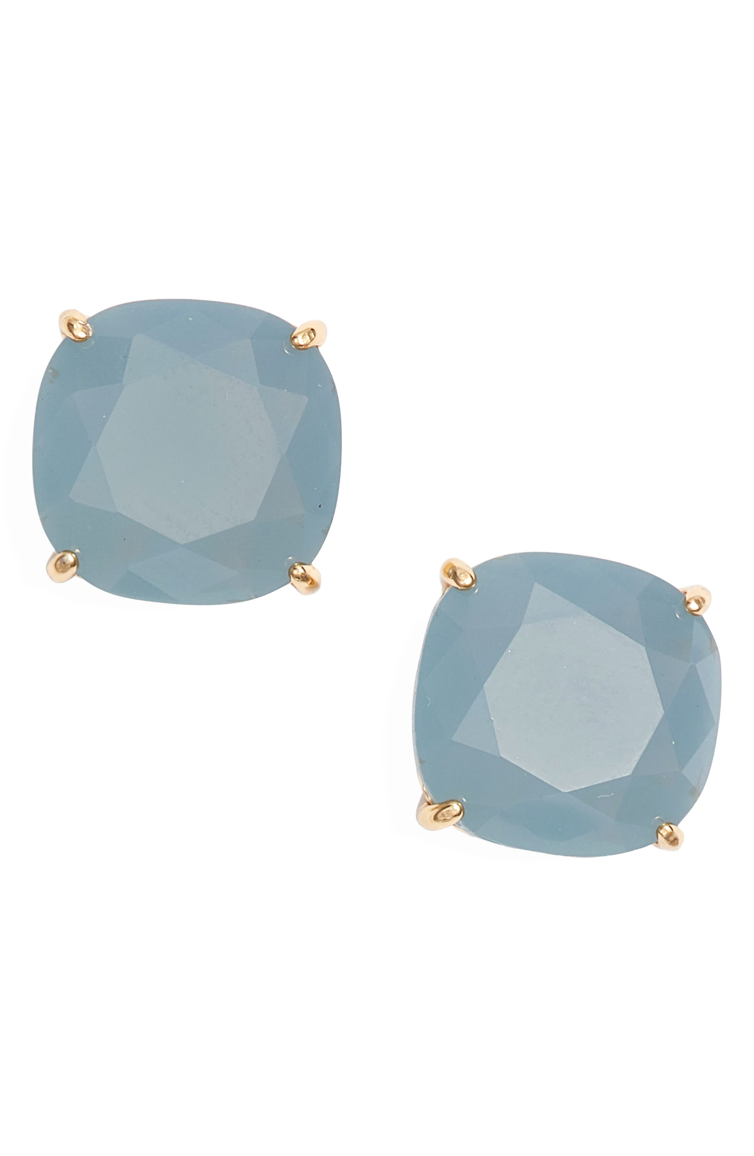 small square stud earrings,                         Main,                         color, SERENE BLUE