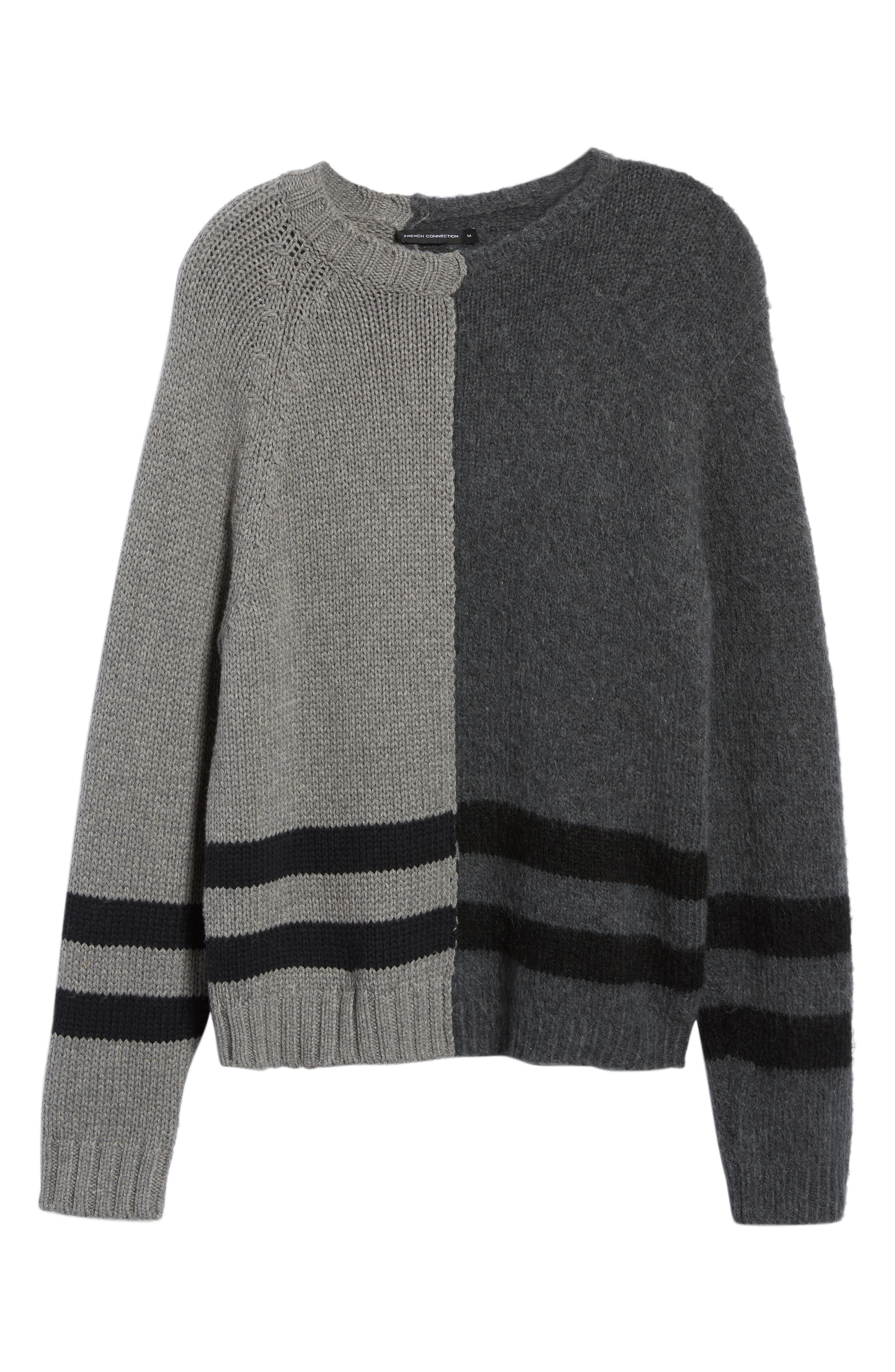 FRENCH CONNECTION,                             Regular Fit Colorblock Stripe Detail Sweater,                             Alternate thumbnail 6, color,                             020