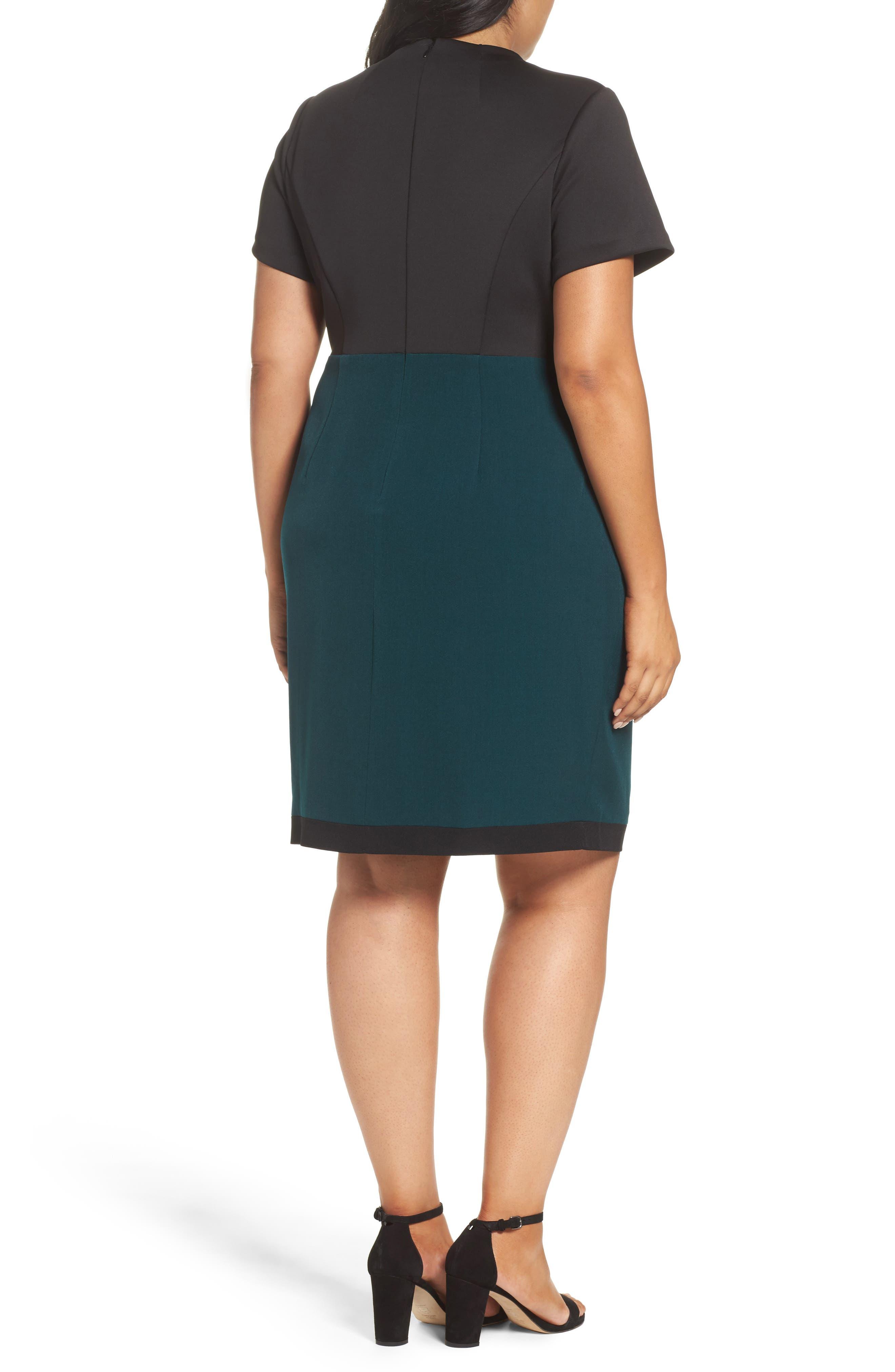 Scuba & Crepe Sheath Dress,                             Alternate thumbnail 2, color,                             303