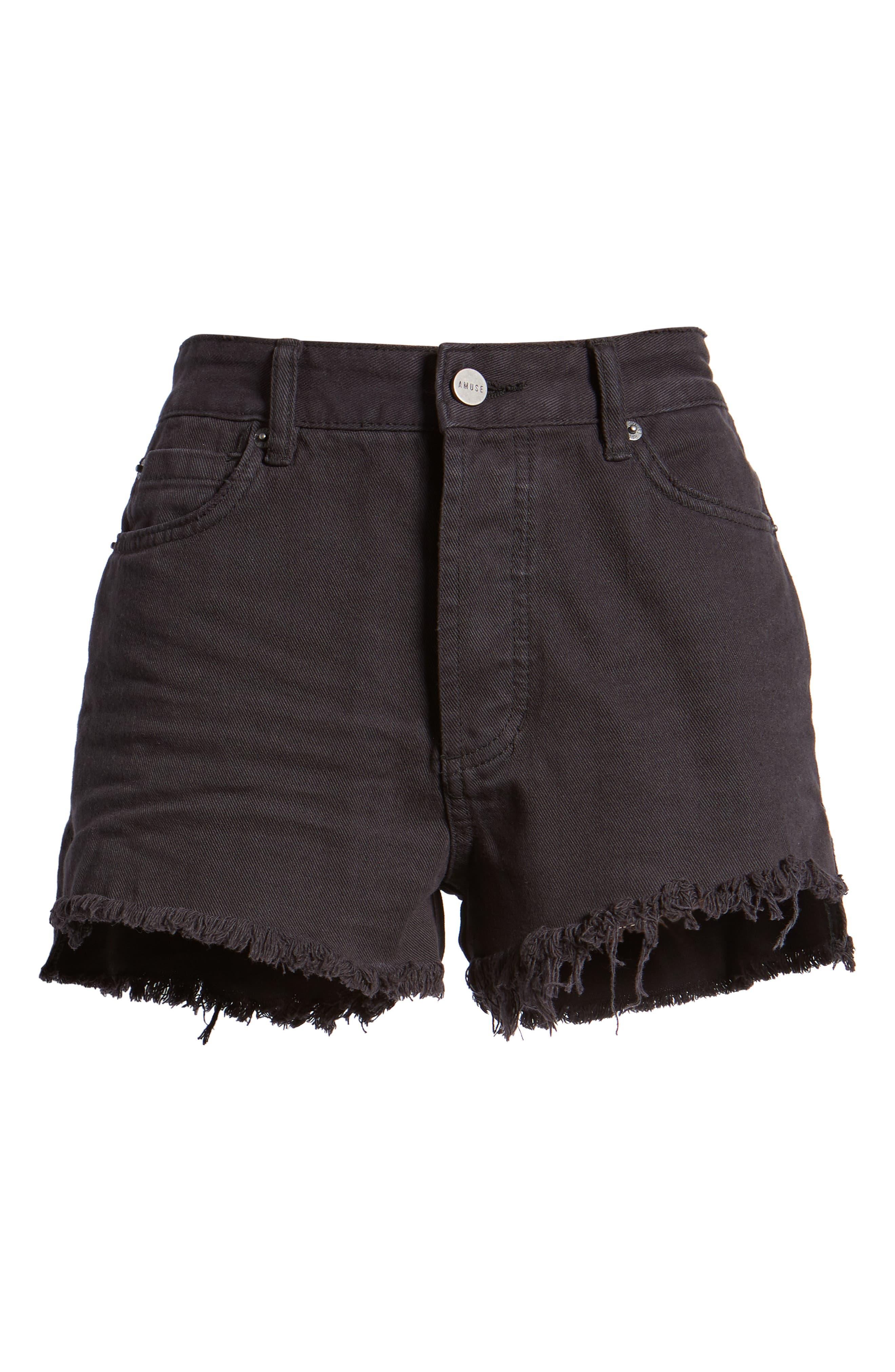 Shoreline Fray Hem Denim Shorts,                             Alternate thumbnail 7, color,                             001