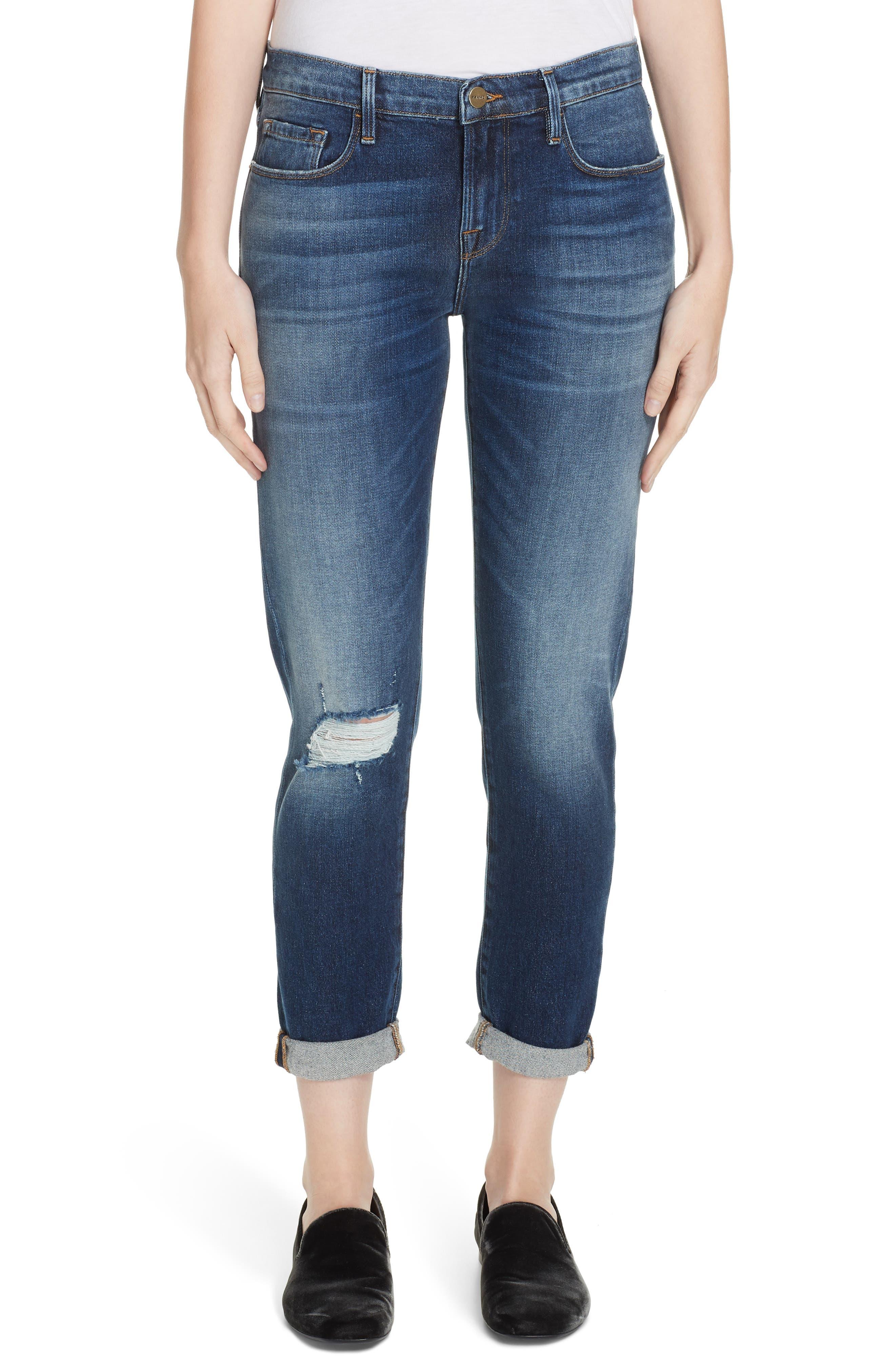 Le Garcon High Waist Ankle Slim Boyfriend Jeans, Main, color, 420