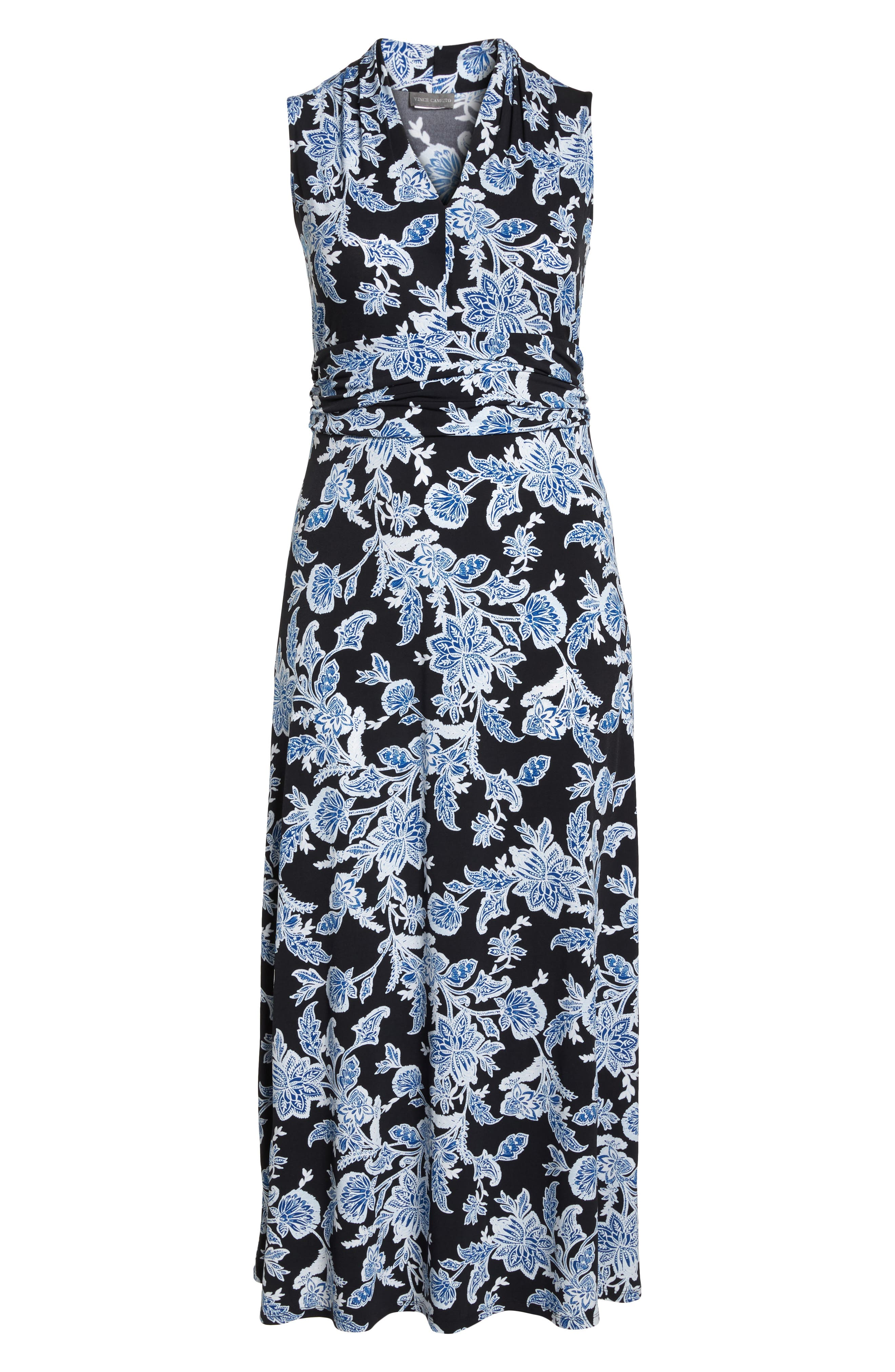 Woodblock Floral Maxi Dress,                             Alternate thumbnail 7, color,                             010