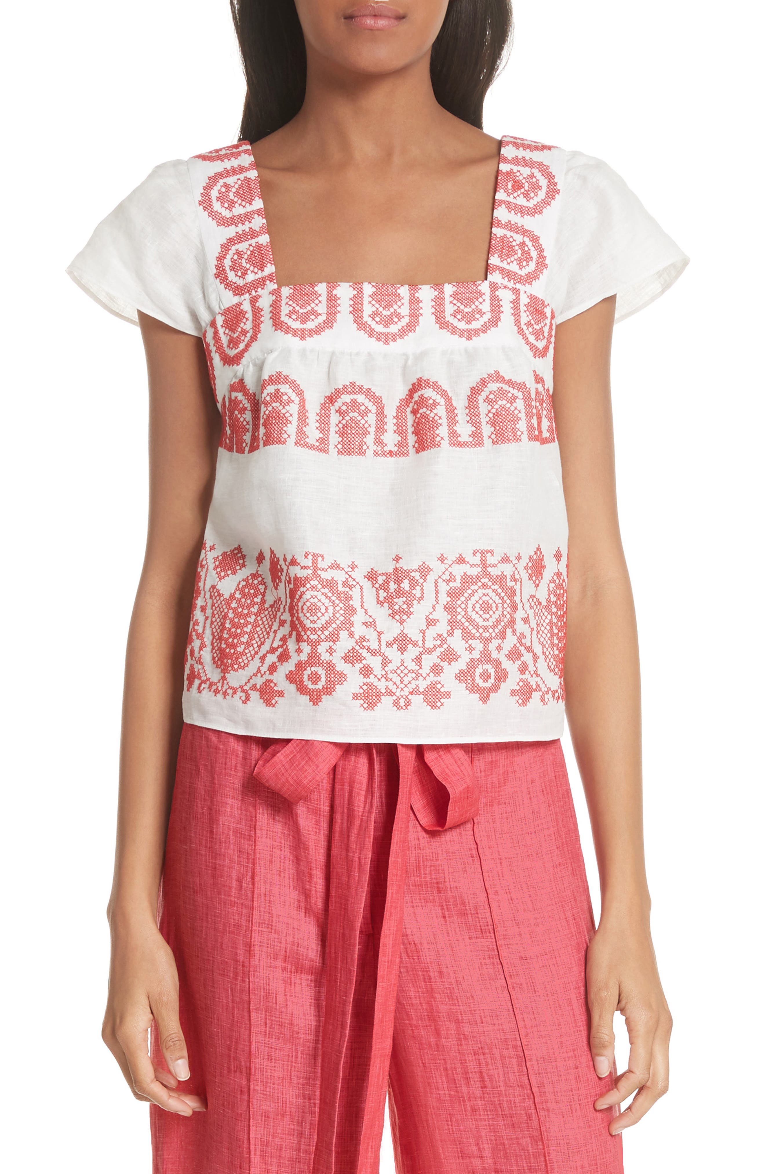 Mykonos Embroidered Crop Square Neck Linen Top,                         Main,                         color, POPPY