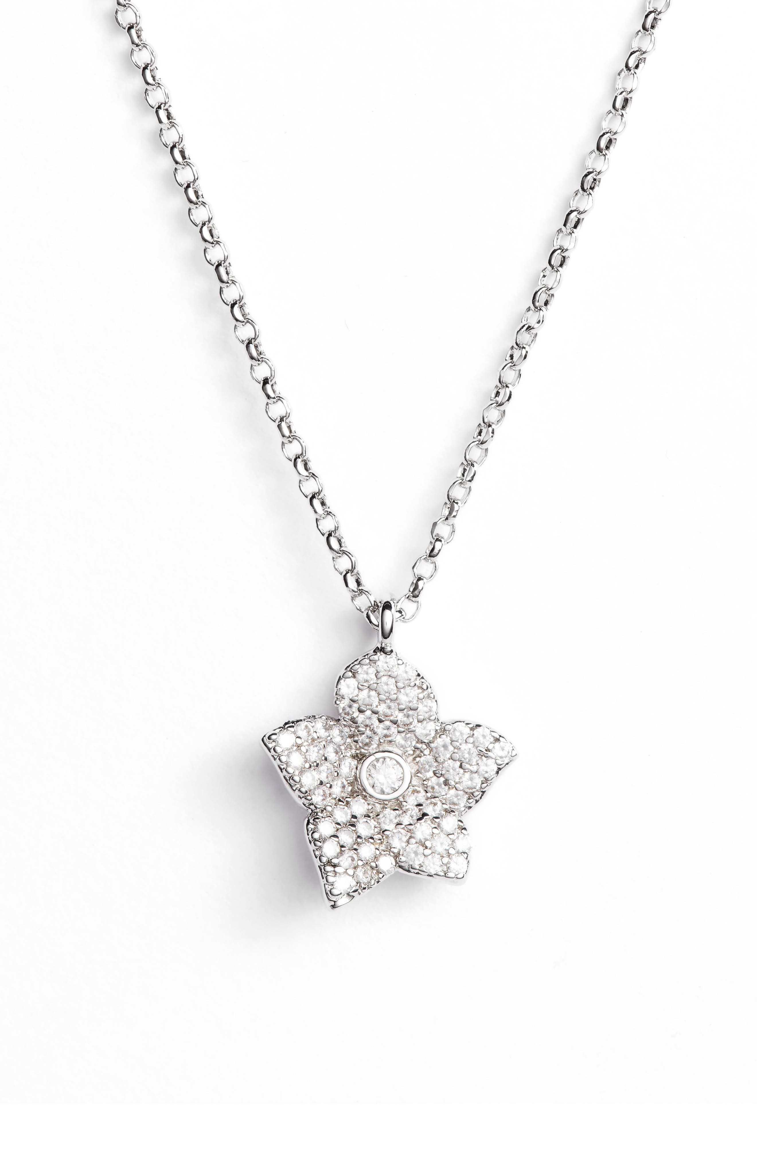 blooming pavé mini pendant necklace,                         Main,                         color, SILVER