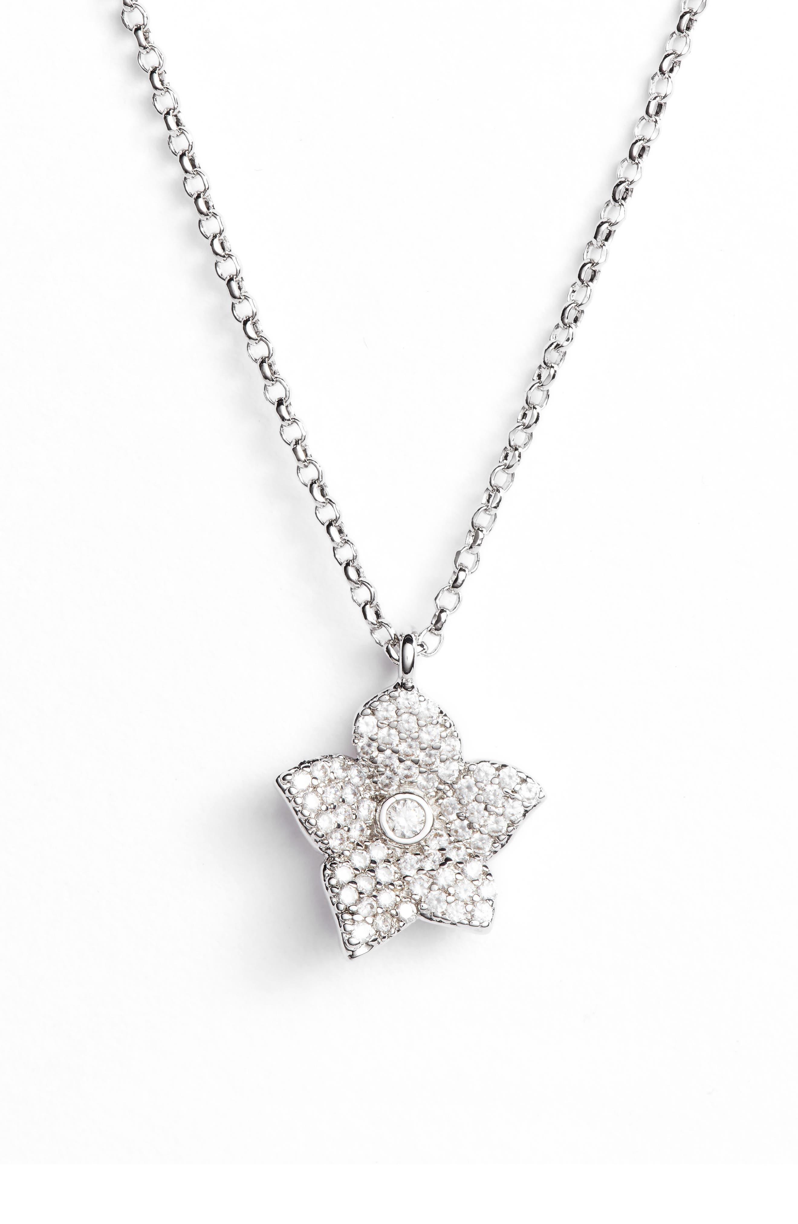 blooming pavé mini pendant necklace,                         Main,                         color, 041