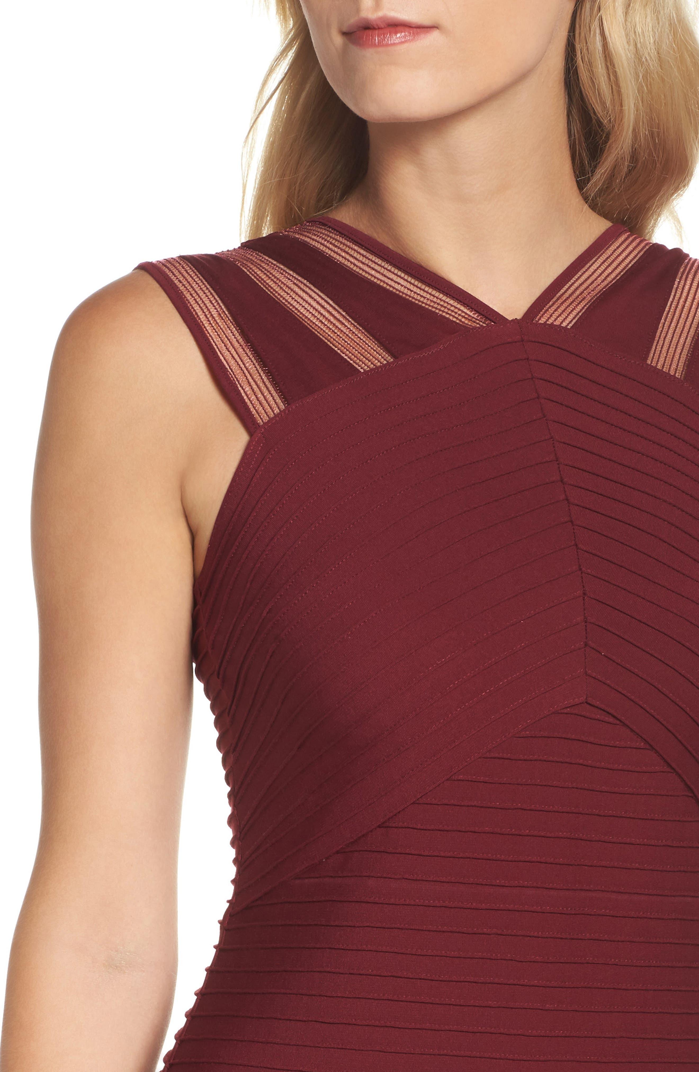 Mesh Inset Pintuck Dress,                             Alternate thumbnail 4, color,                             600