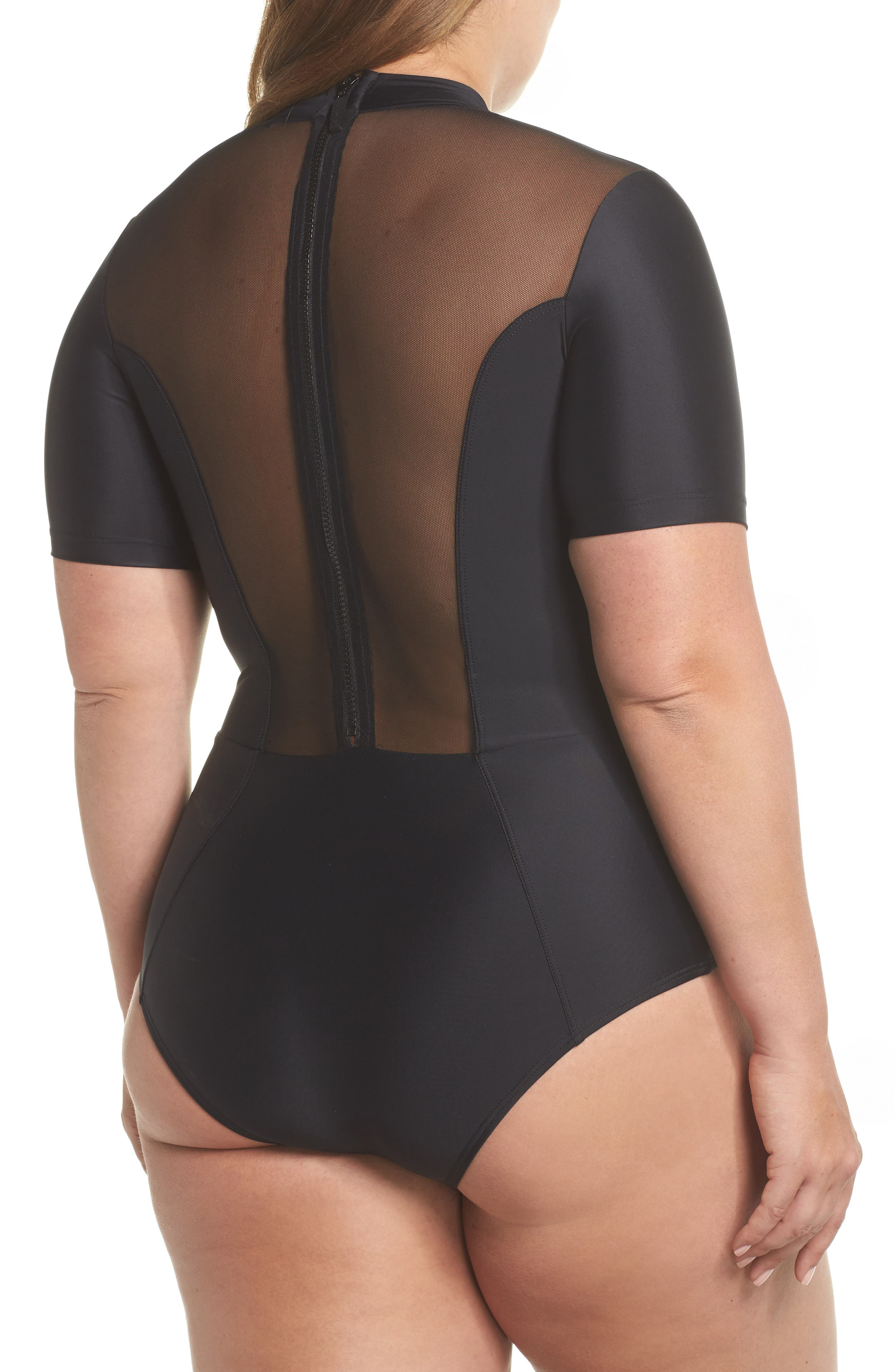 Tidal Back Zip One-Piece Swimsuit,                             Alternate thumbnail 2, color,                             001