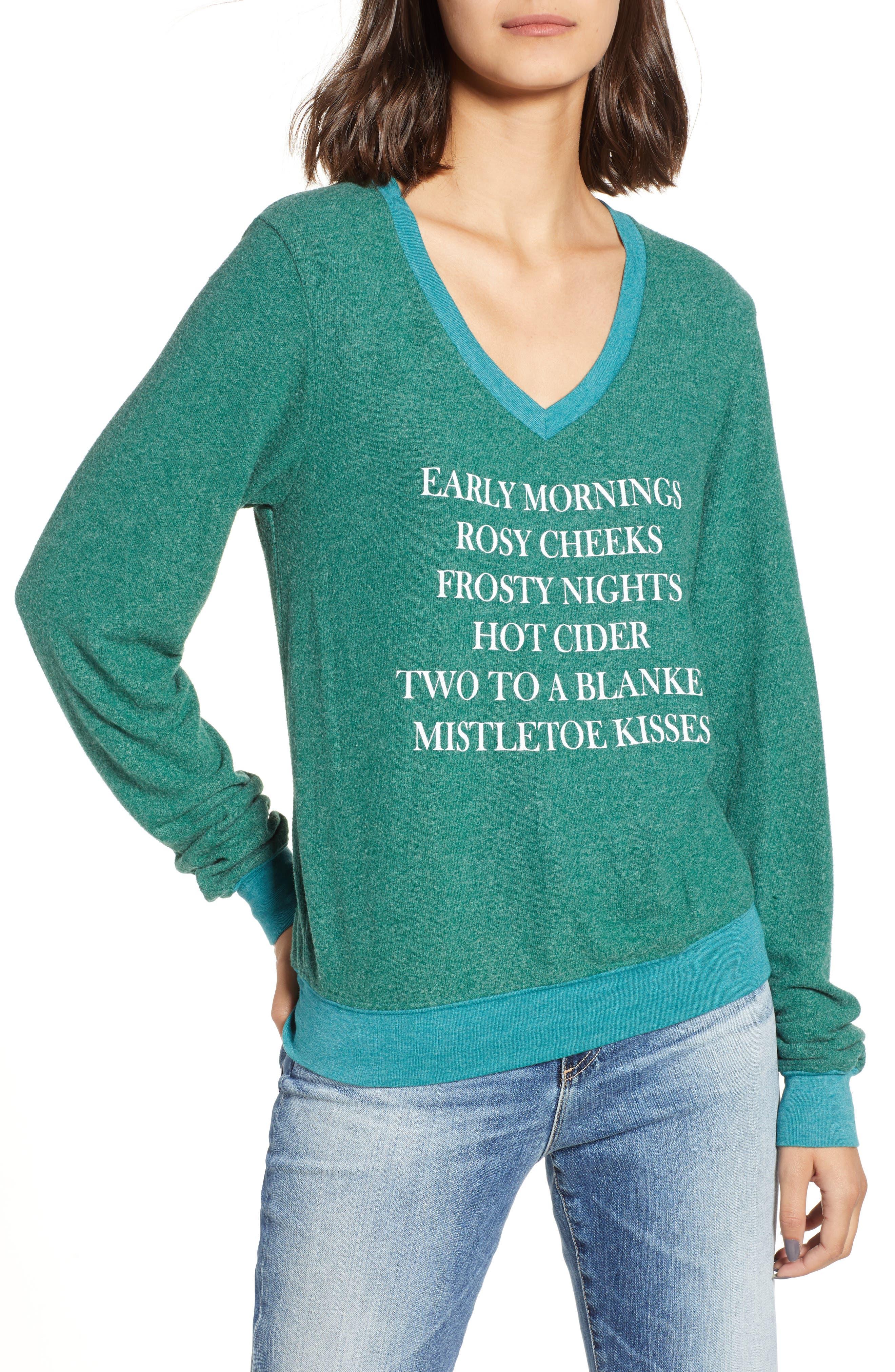 Mistletoe Kisses Sweater,                             Main thumbnail 1, color,                             WOODFALL GREEN