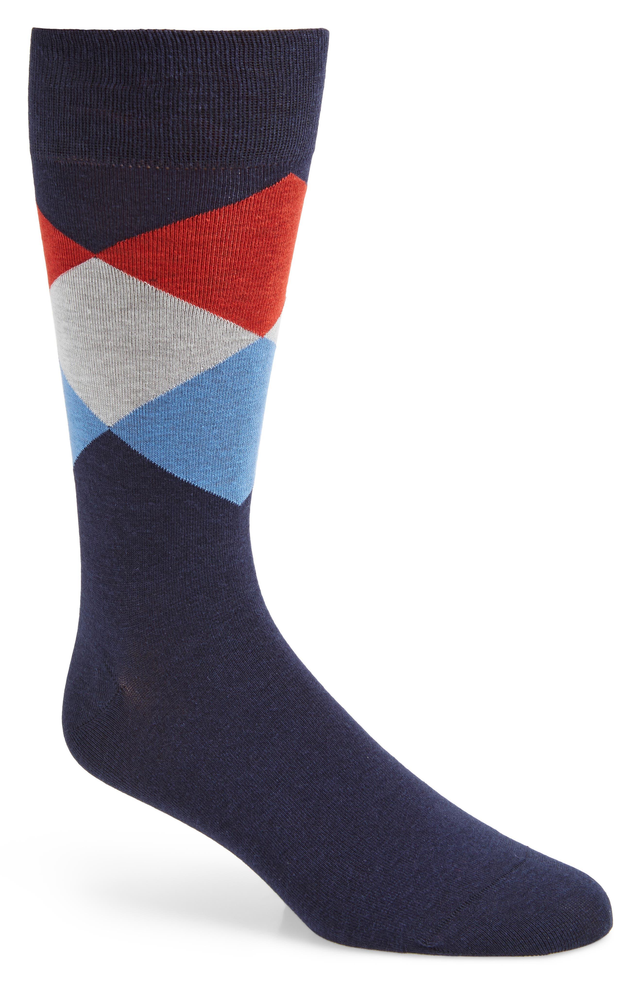 Large Diamond Crew Socks,                             Main thumbnail 1, color,                             BLUE