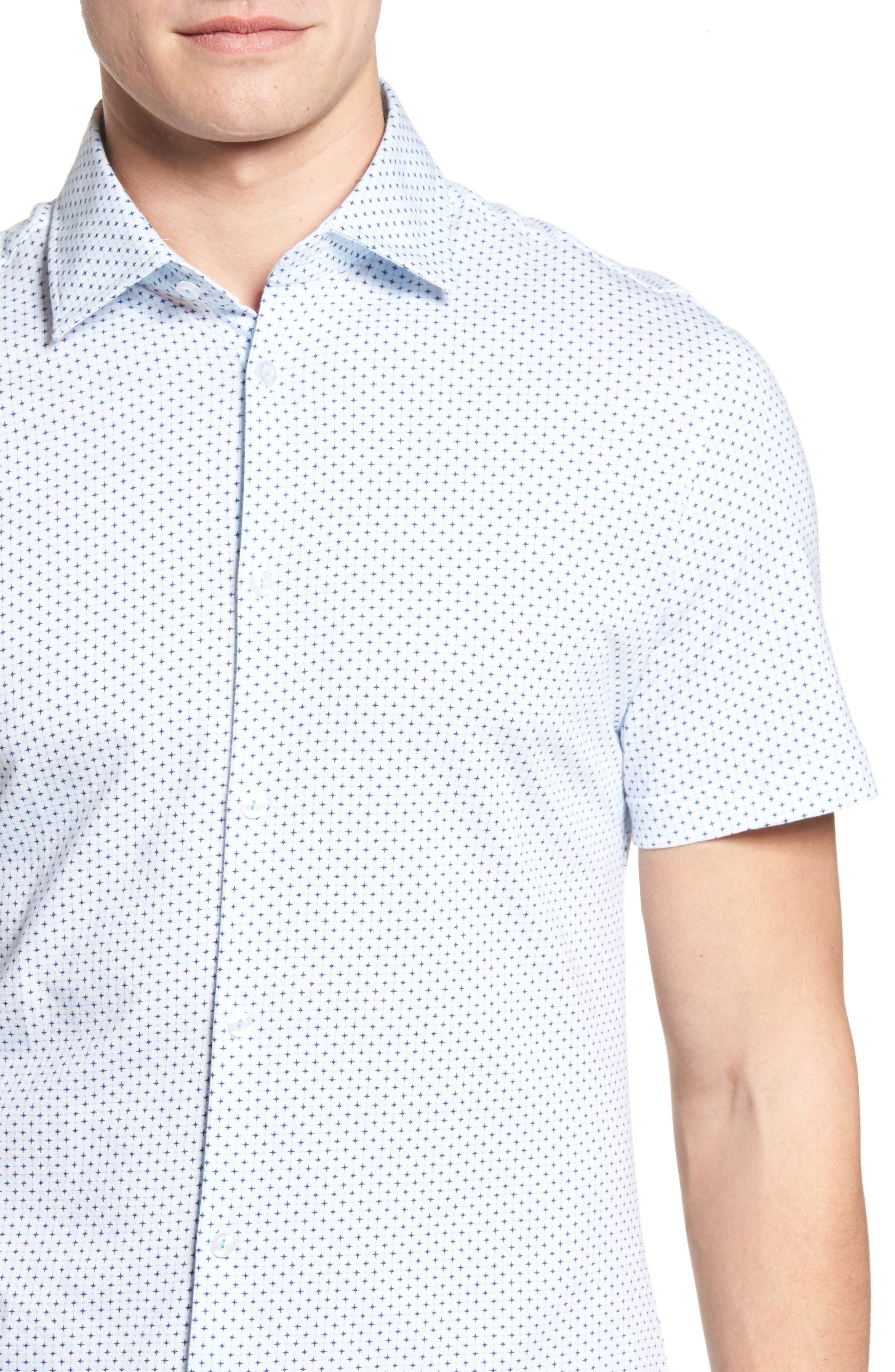 Trim Fit Geo Print Sport Shirt,                             Alternate thumbnail 4, color,                             100
